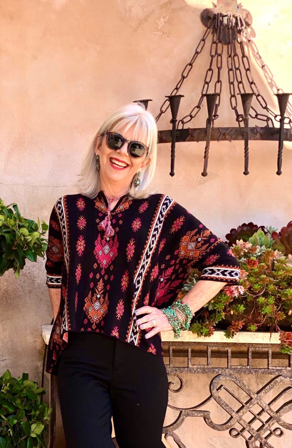Cindy Hattersley in Peruvian Connection Santorini Pullover