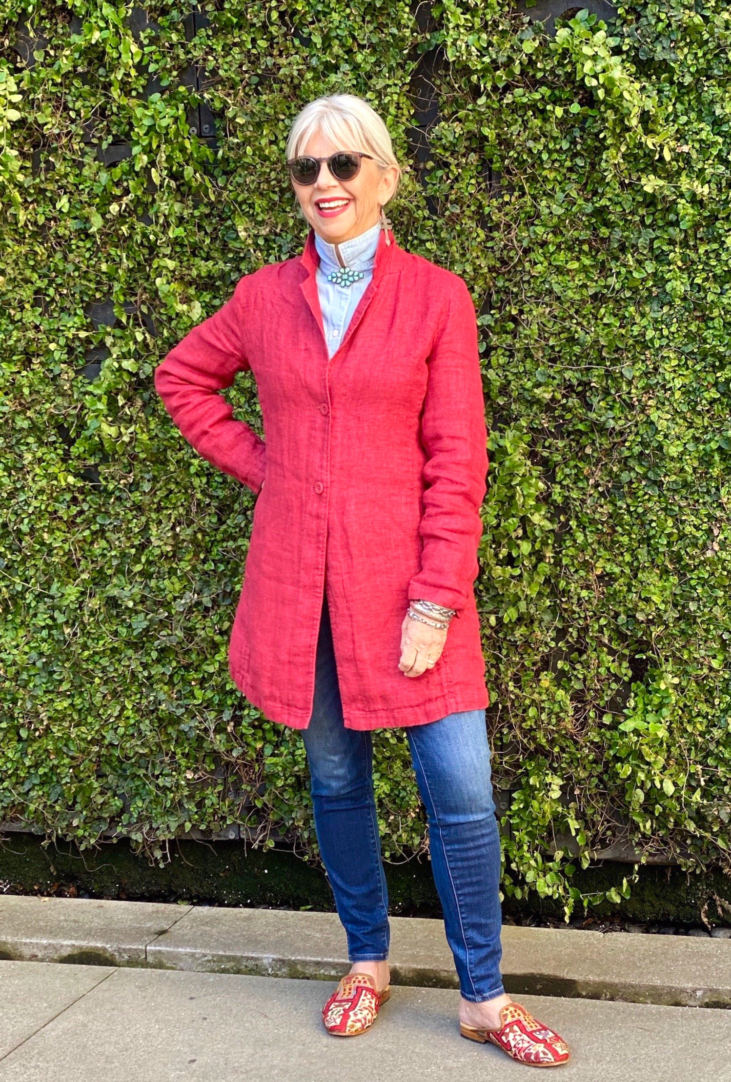 cindy hattersley in eileen fisher organic linen jacket and artemis slippers