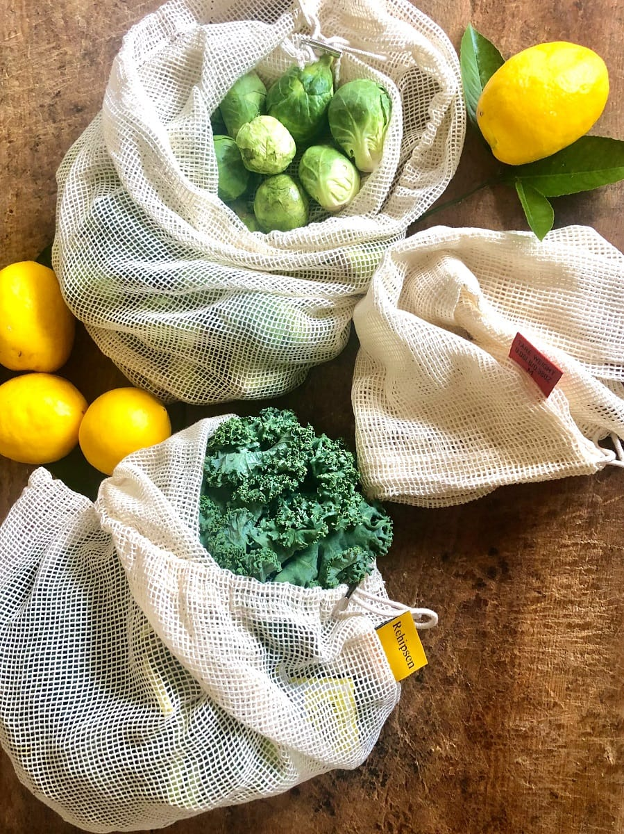 Kale and Brussel Sprouts in mesh bags