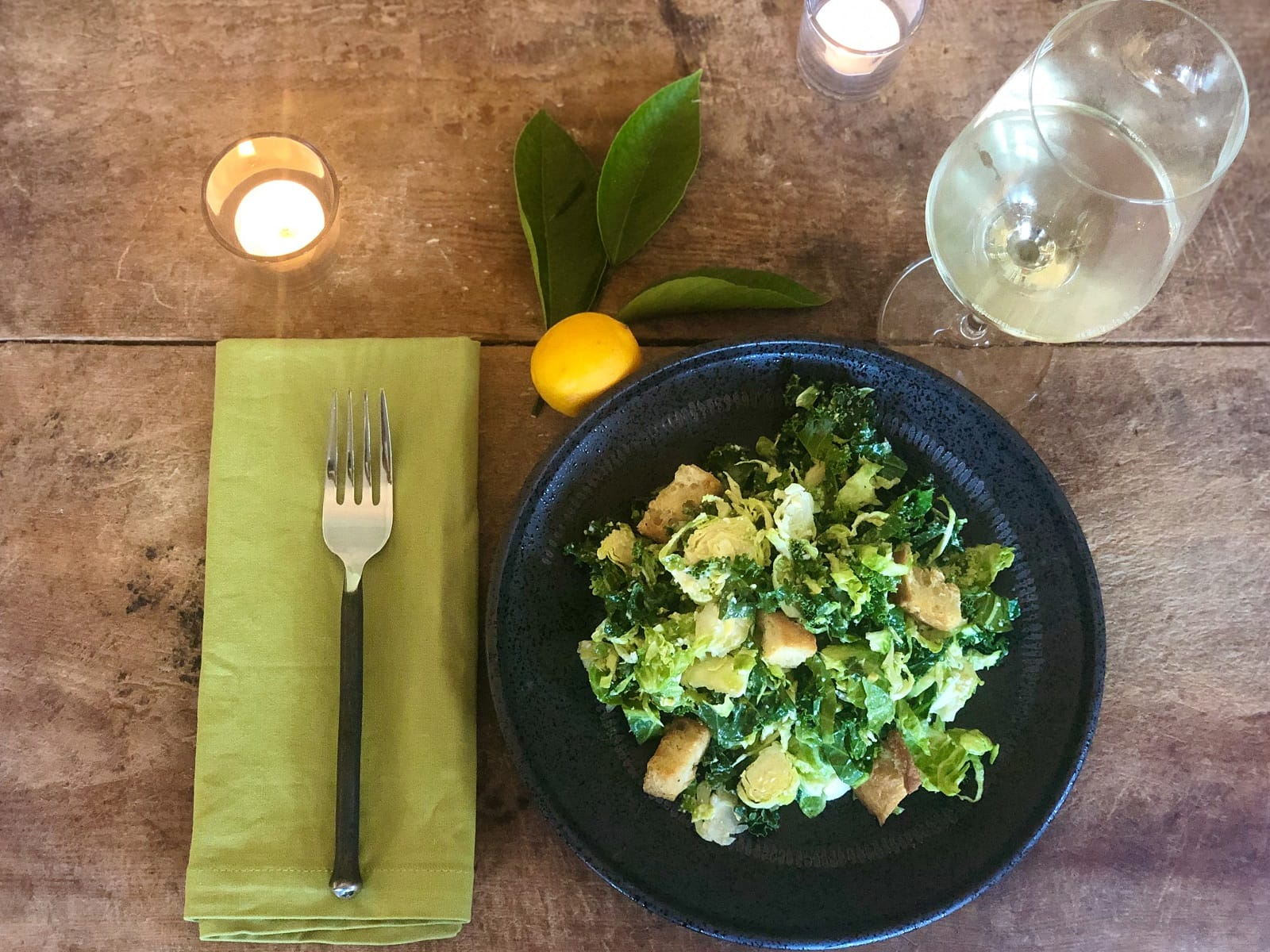 brussel sprout and kale caesar with wine