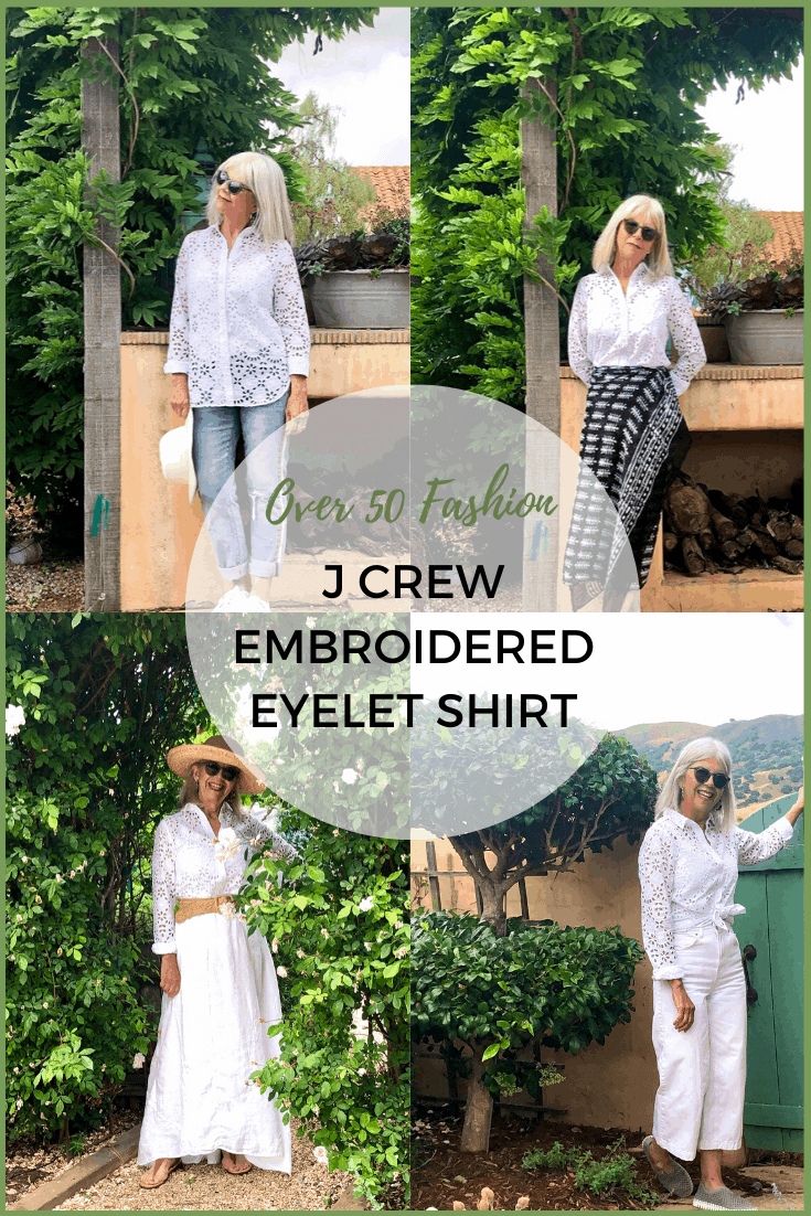 over 50 fashion j crew embroidered eyelet shirt