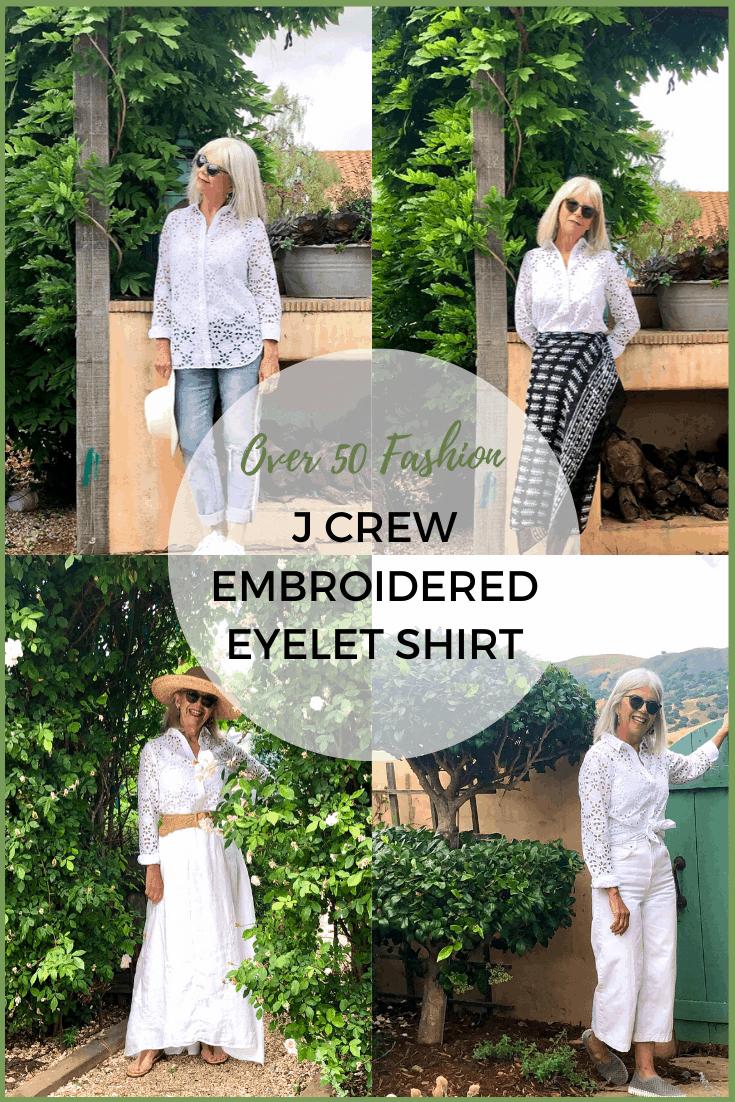 over 50 Fashion J Crew Eyelet Shirt