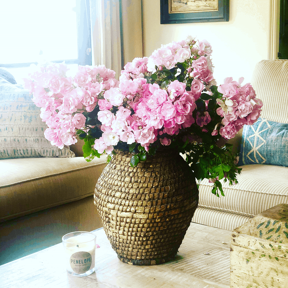 bouquet of roses on cindy hattersley's coffee table