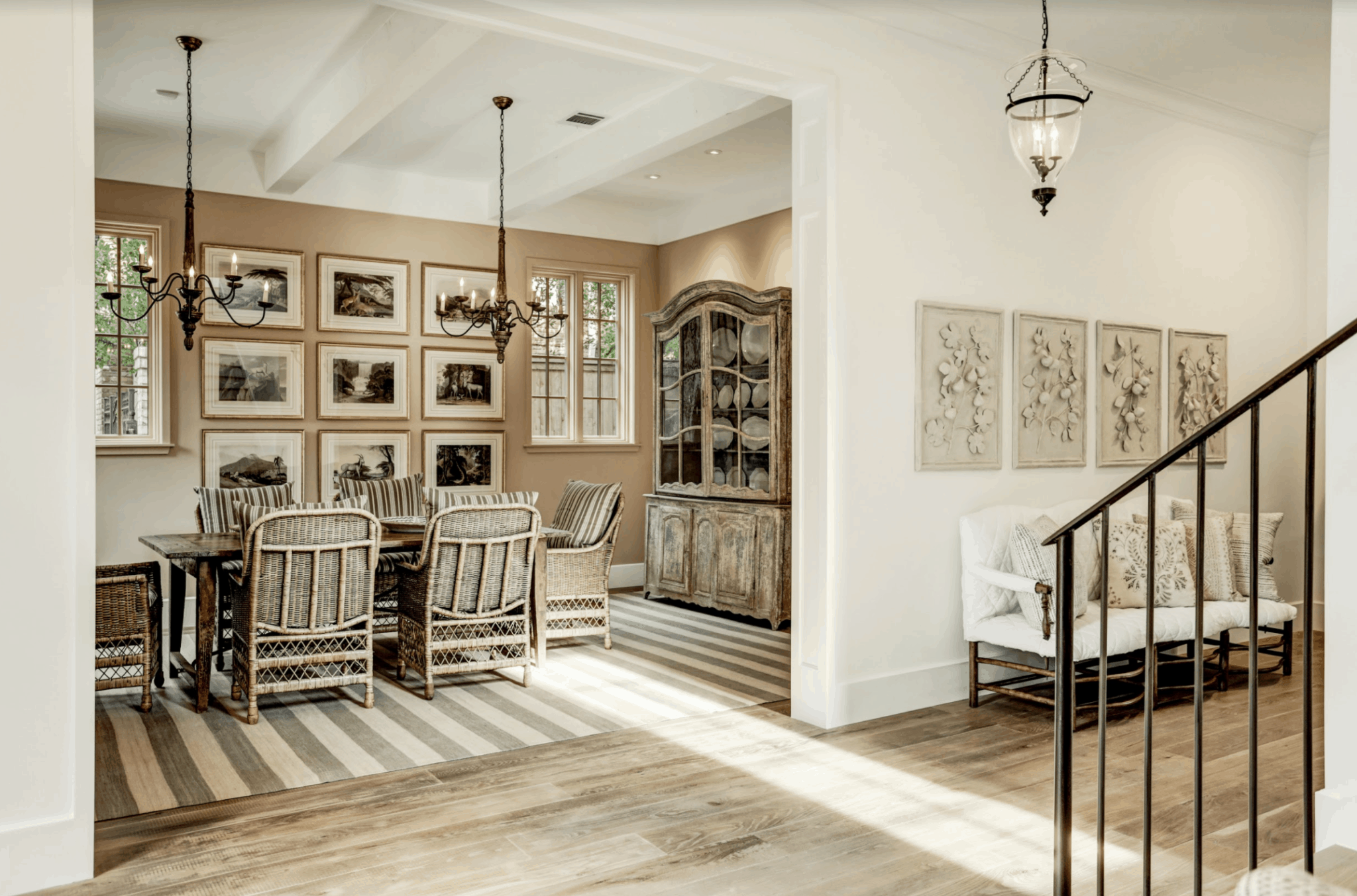 glasser copper designed entry and dining in milieu showhouse
