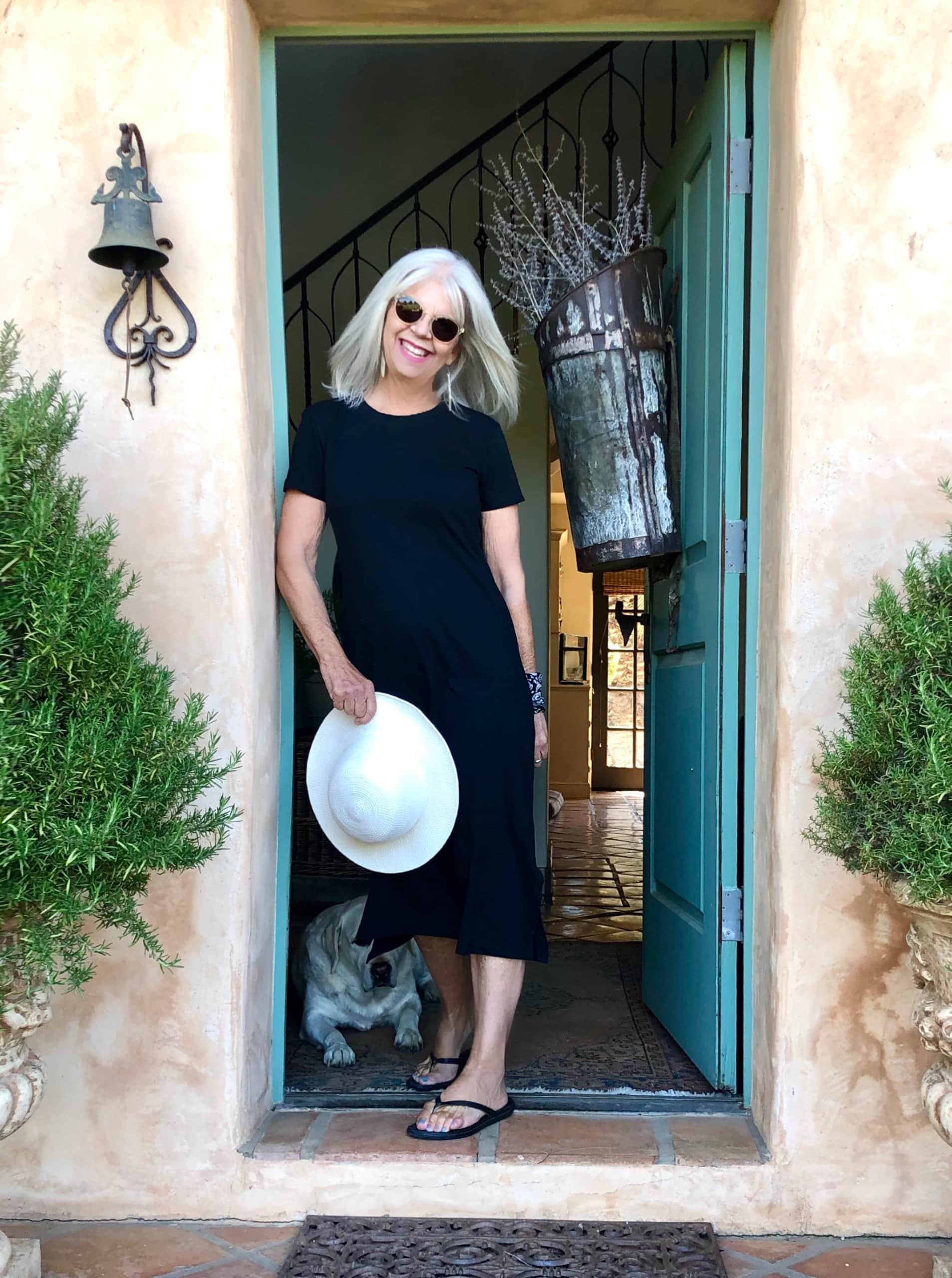 Over 50 Fashion blogger Cindy Hattersley in J Crew T Shirt midi dress