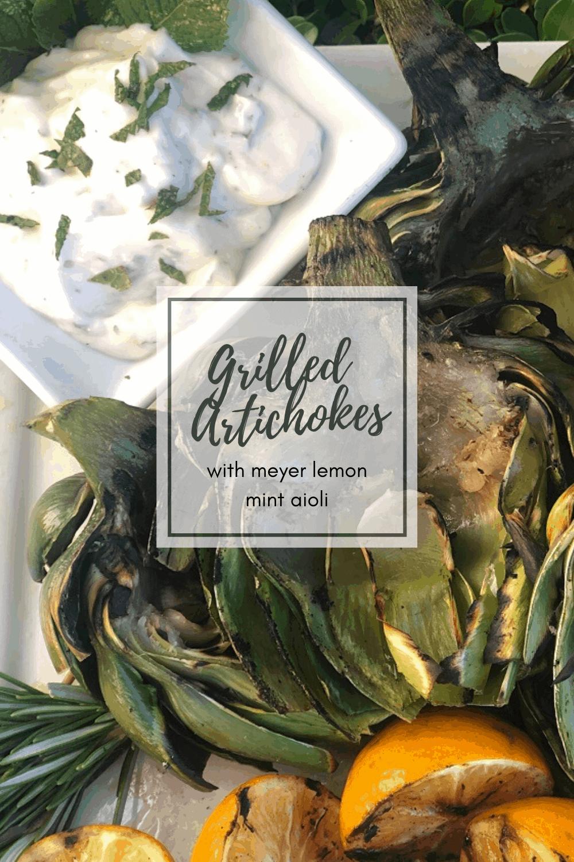 Grilled Artichokes with meyer lemon aioli