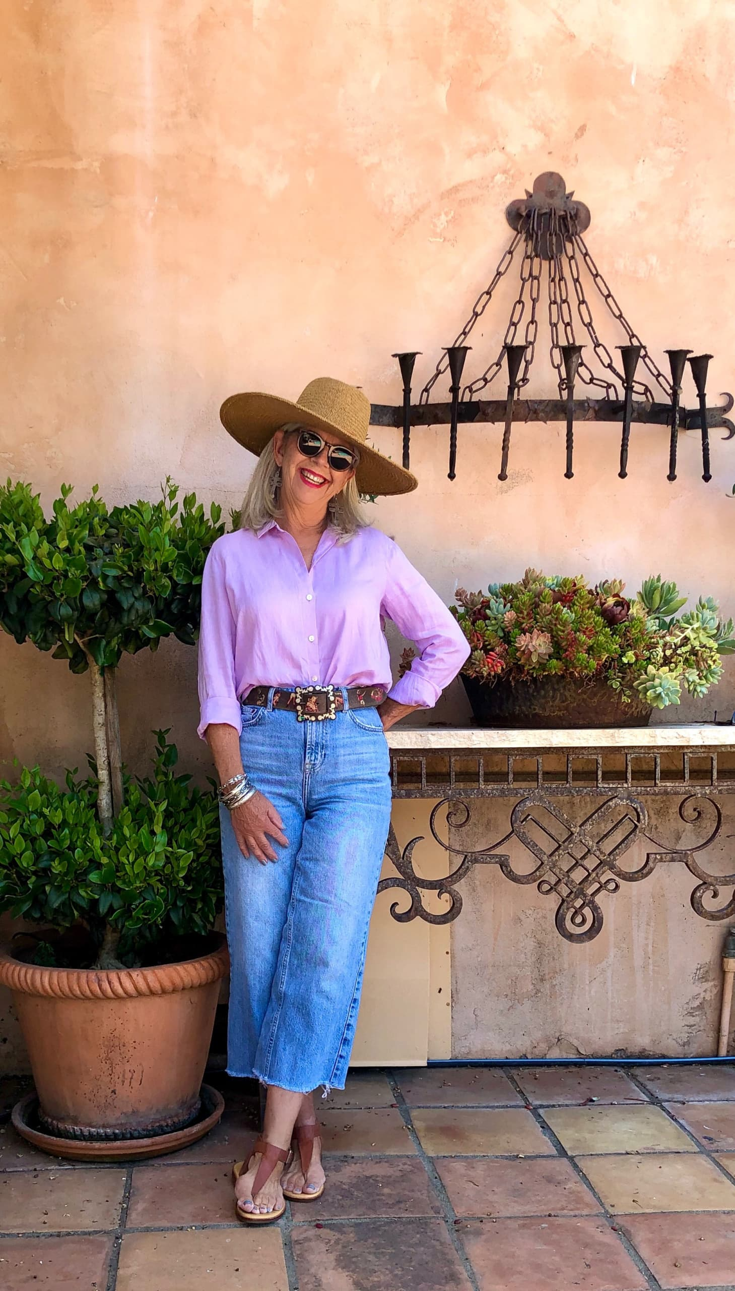 over 50 fashion blogger cindy hattersley in peruvian connection hat and jeans
