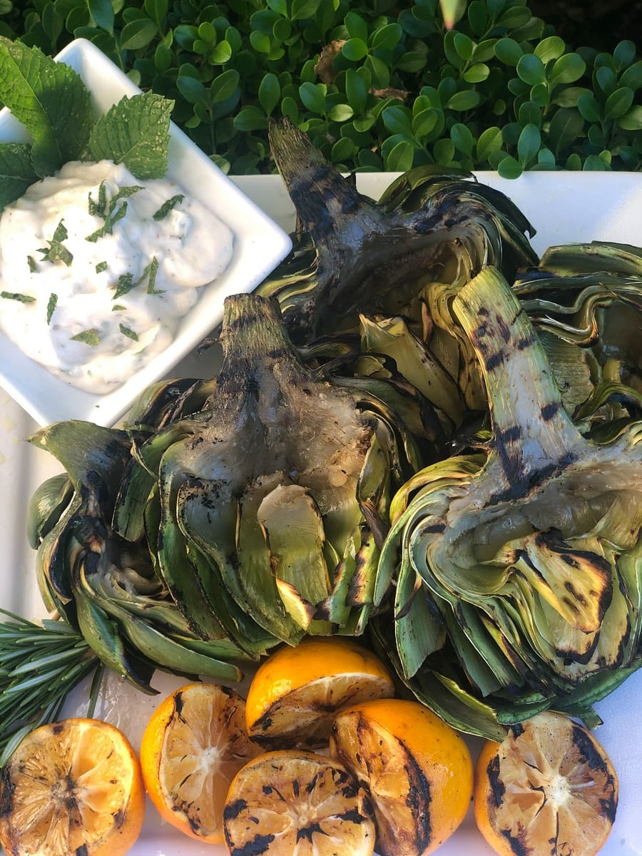 grilled artichokes and lemons with lemon mint aioli