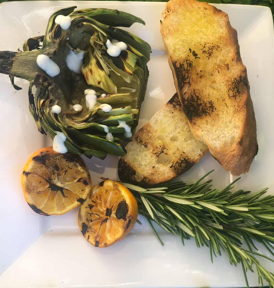 grilled artichoks and grilled bread
