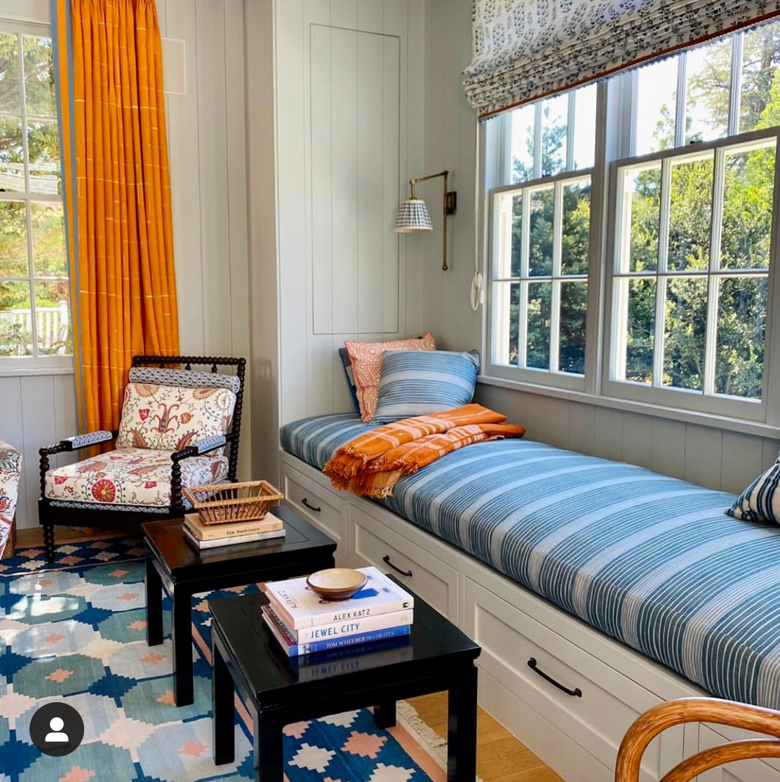 mark sikes living space in blue and tangerine