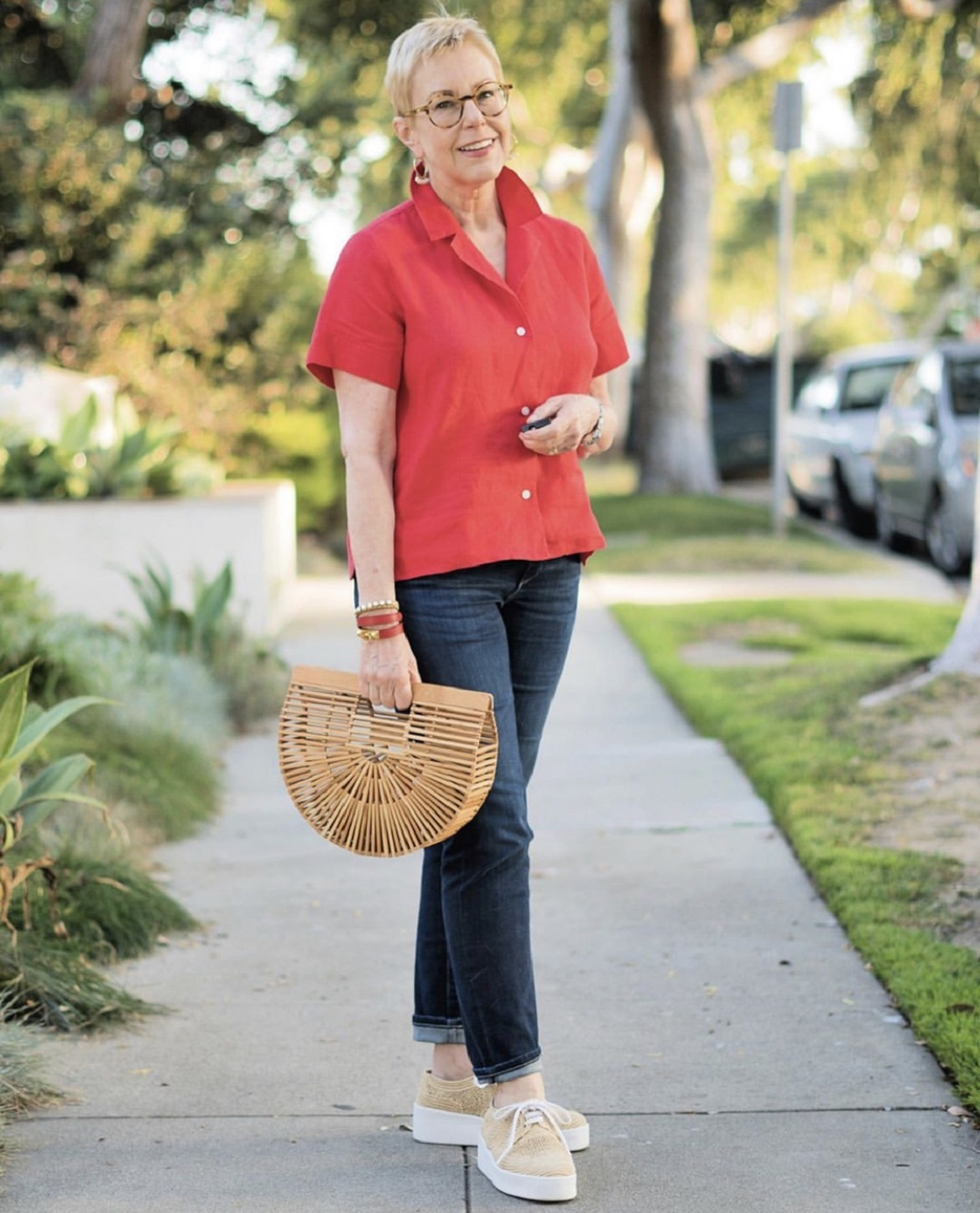 susan blakey in red shirt for ageless style with cindy hattersley