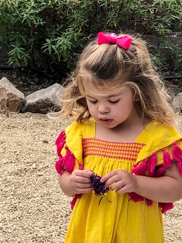 Over 50 Fashion Blogger Cindy Hattersley's granddaughter SummerSummer in Mer St. Barth Serena Tassel Dress