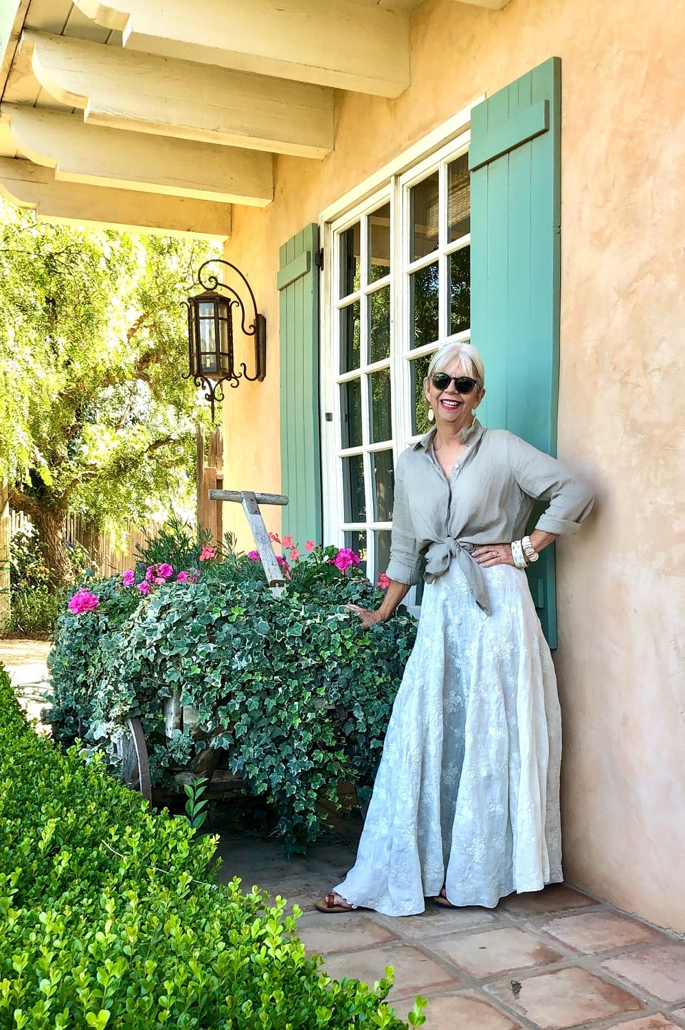 over 50 fashion blogger cindy hattersley in cp shades skirt and j jill line shirt