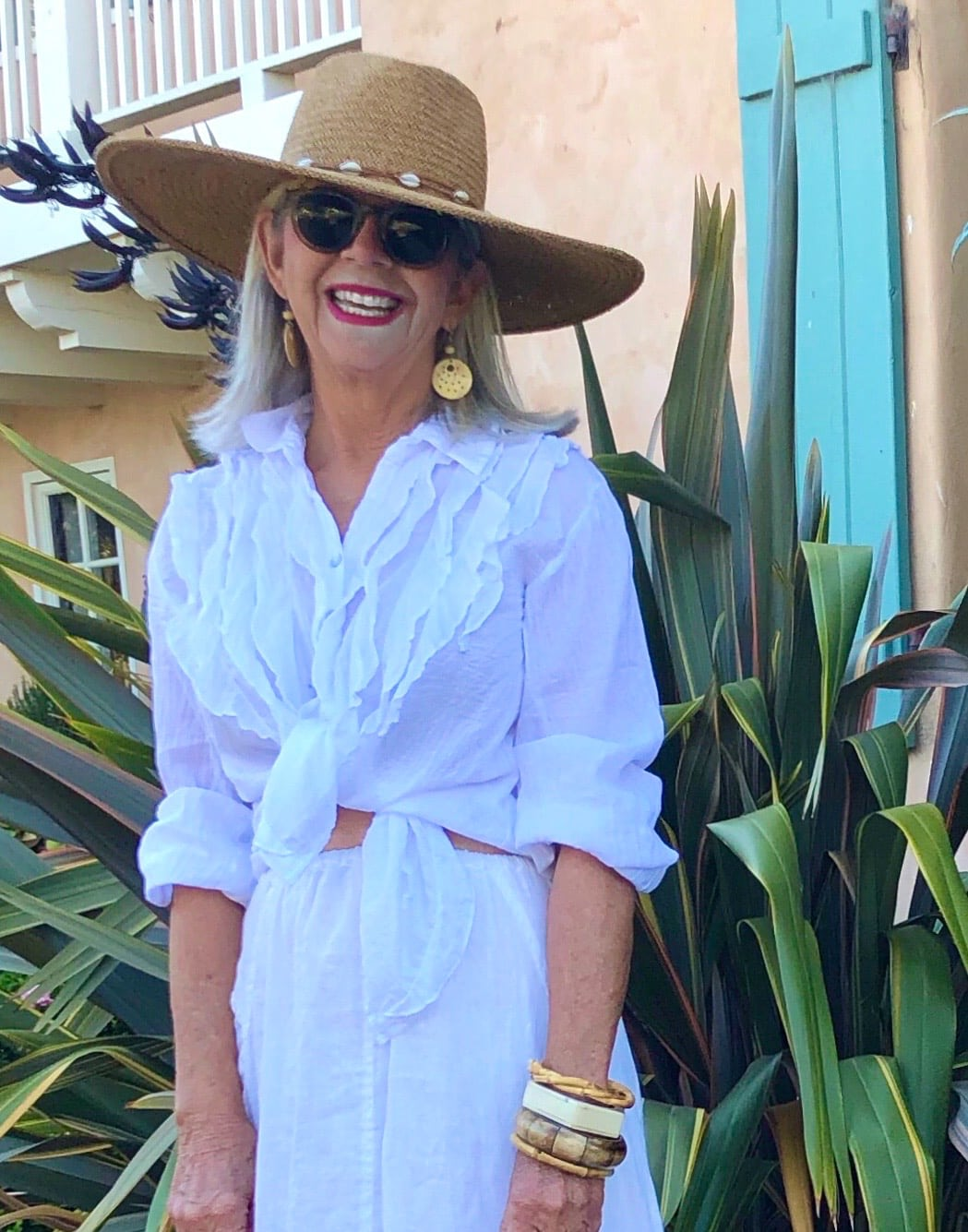 over 50 fashion blogger cindy hattersley in sundance catalog alexi shirt