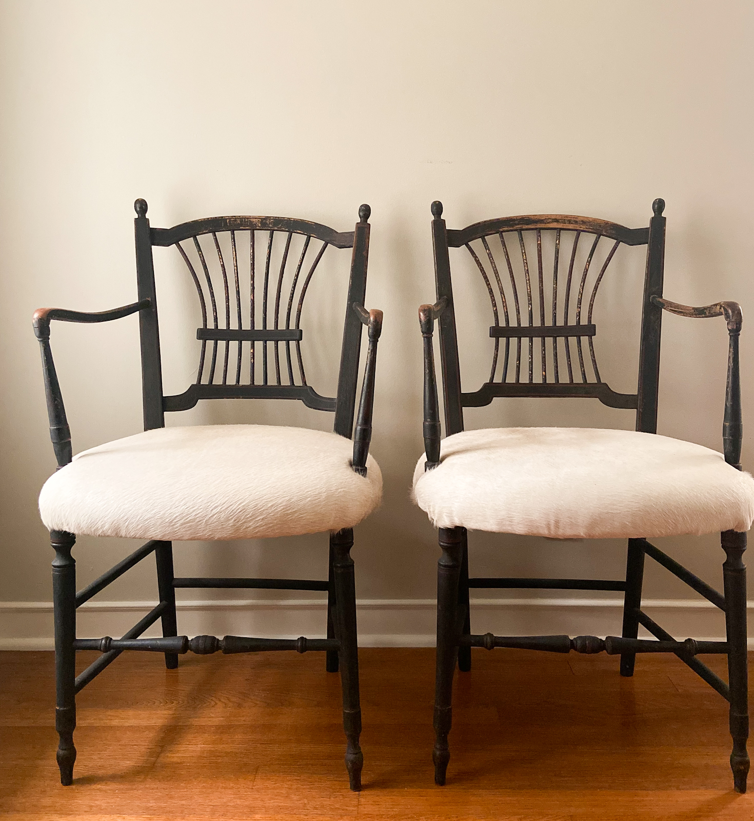 Antique French Chairs Upholstered in White Cowhide by Cindy Hattersley Design