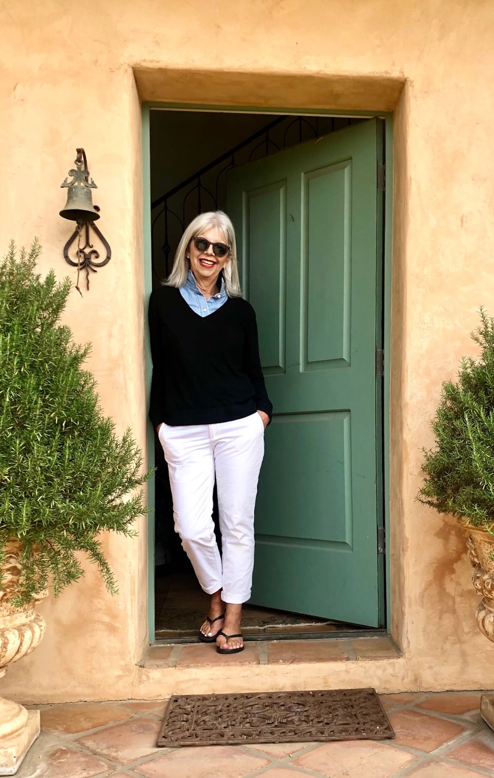Over 50 Fashion Blogger Cindy Hattersley in White Chinos Chambray & Cashmere