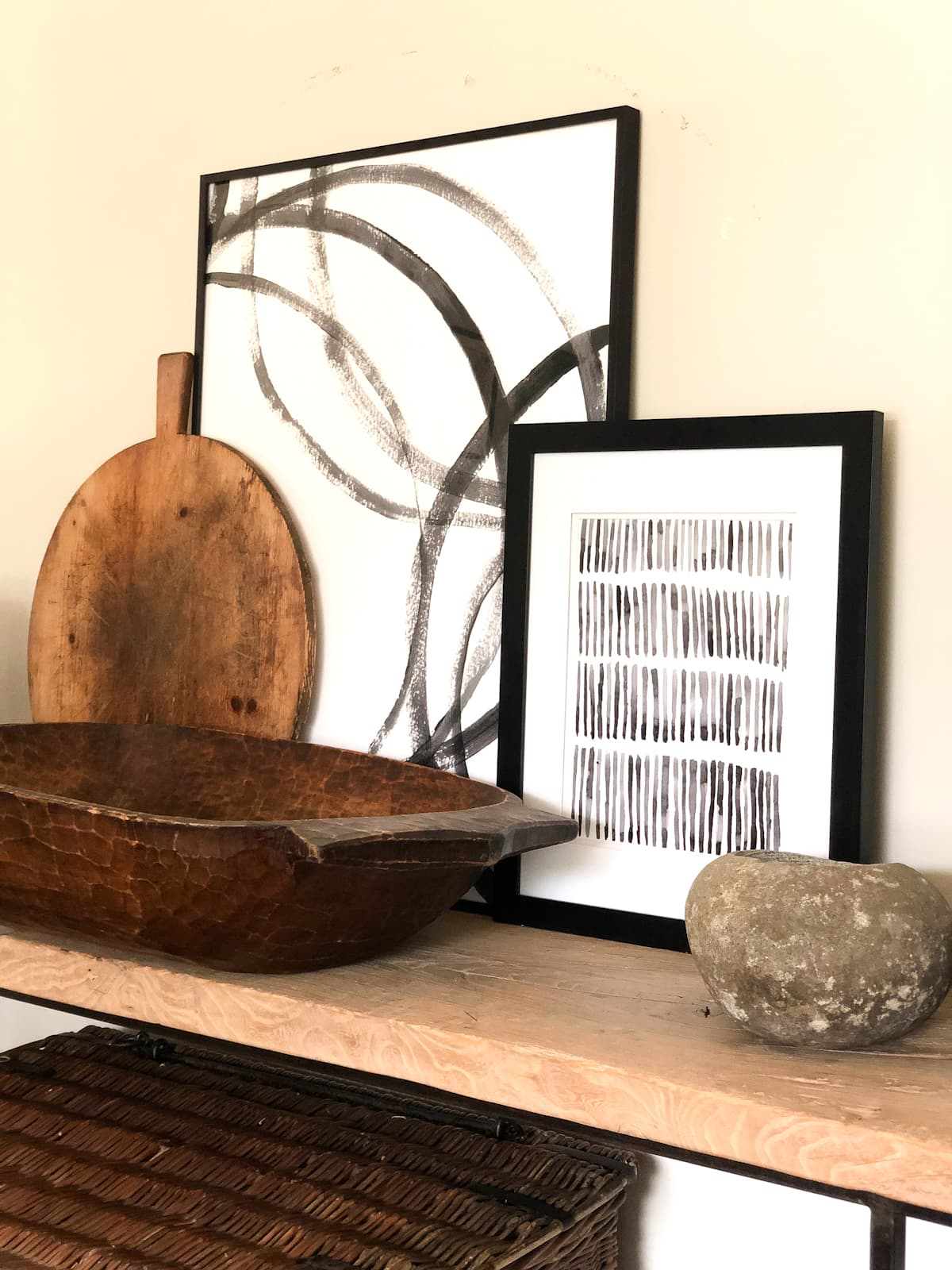 cindy hattersley designed console with modern accessories closeup