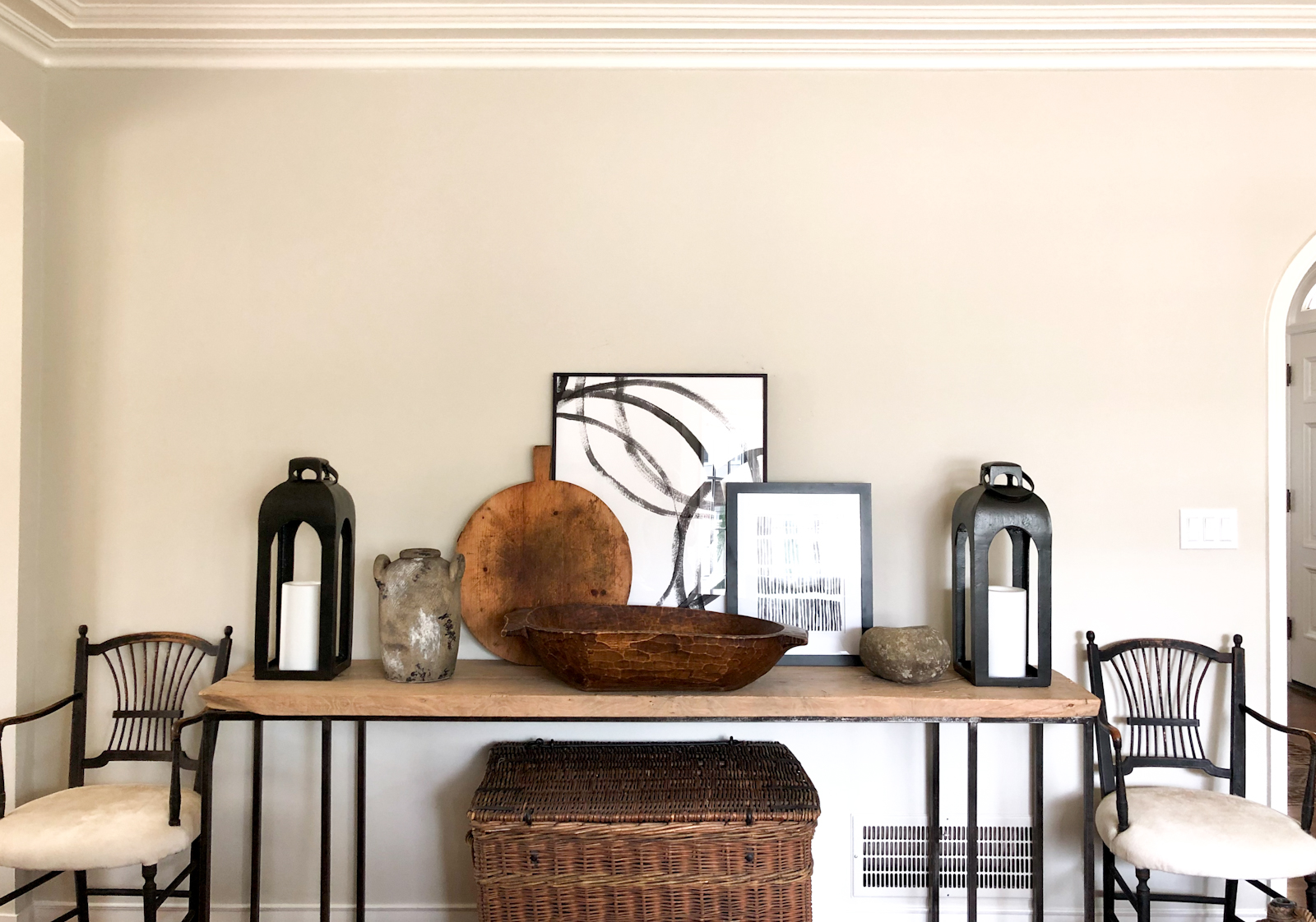 cindy hattersley designed console with modern art