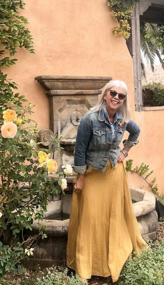 cindy hattersley in cp shades lily skirt and denim jacket