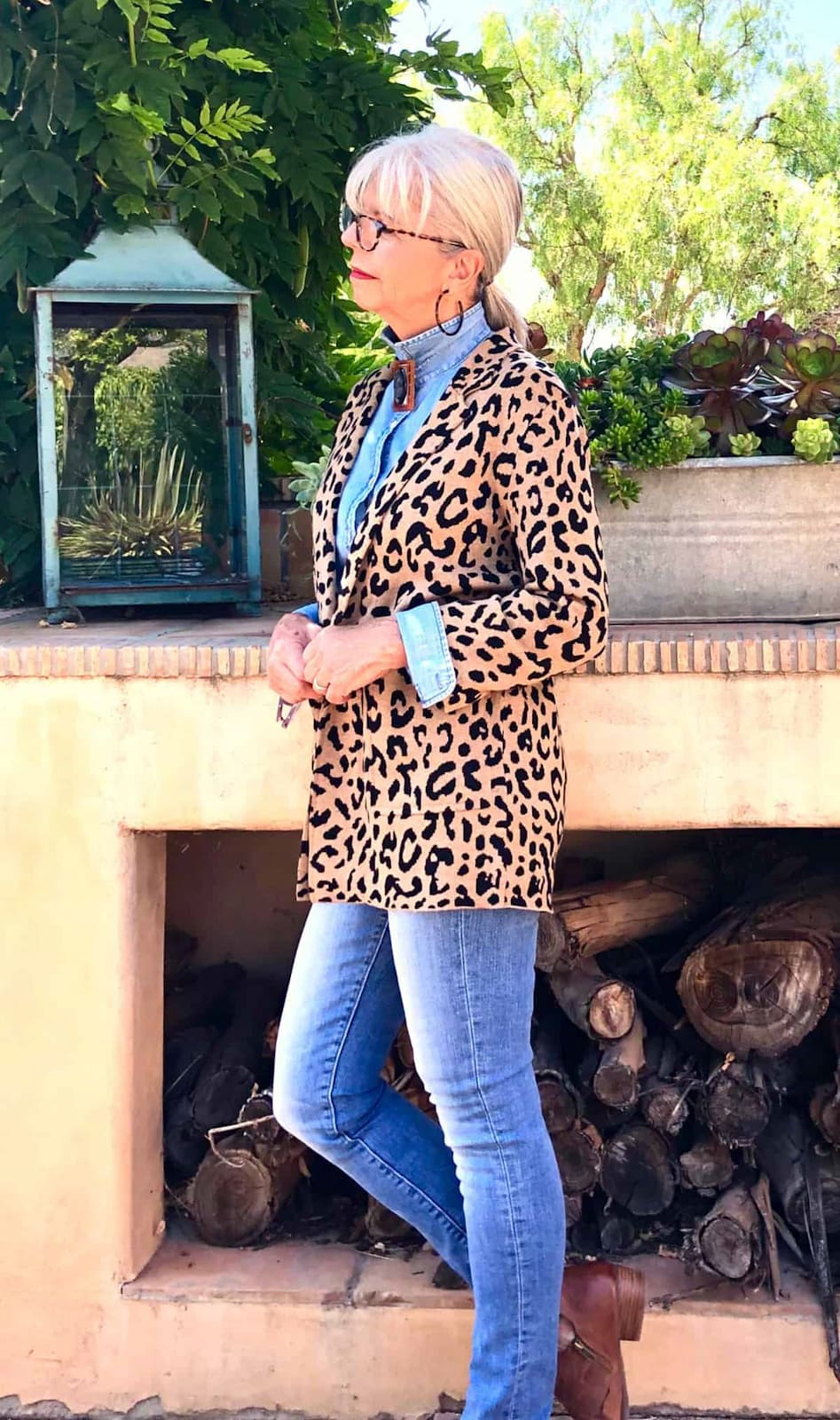 cindy hattersley in j crew sophie jacket and chambray shirt