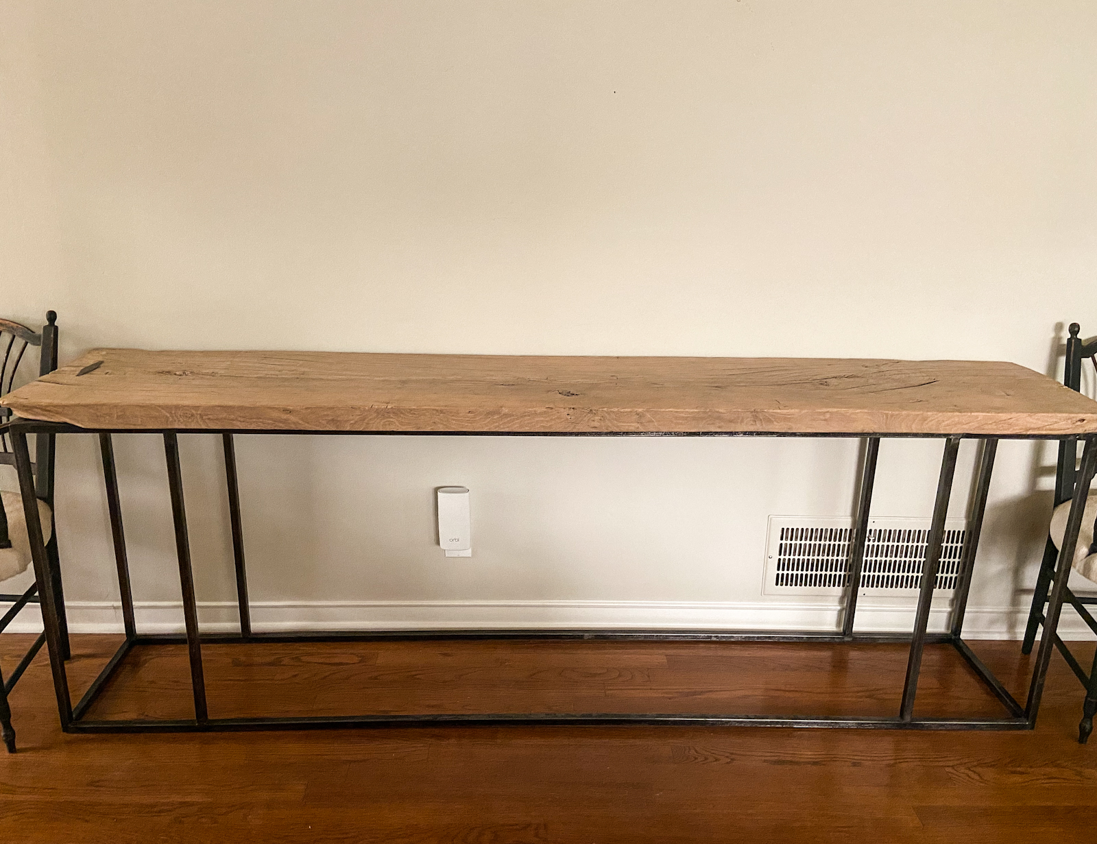 long narrow console with reclaimed wood top