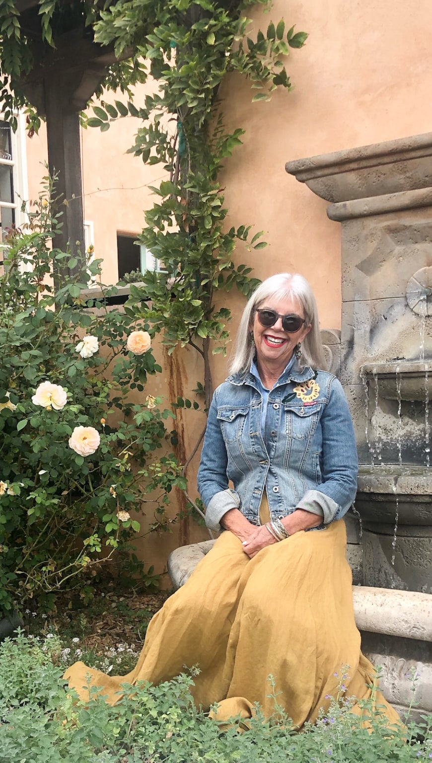 over 50 fashion blogger Cindy Hattersley in J Crew Chambray and CP Shades skirt