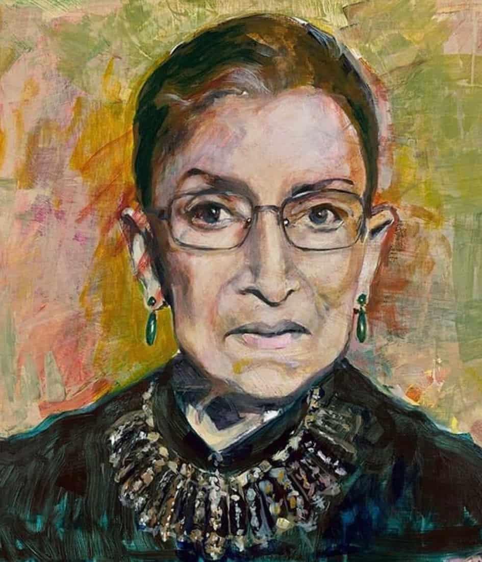 Joan Baez painting of Ruth Bader Ginsberg