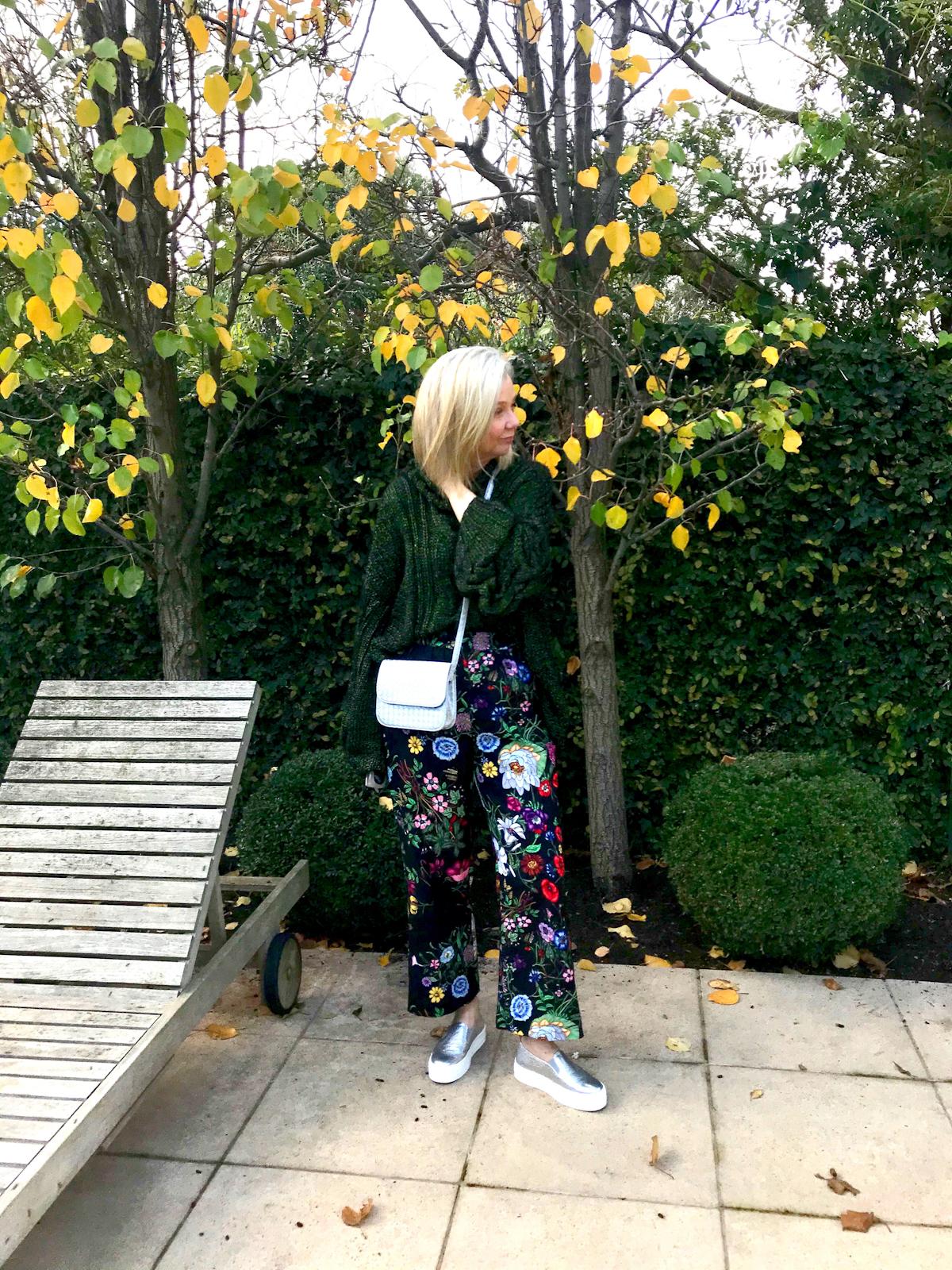 sarah london in metallic wedges and long skirt