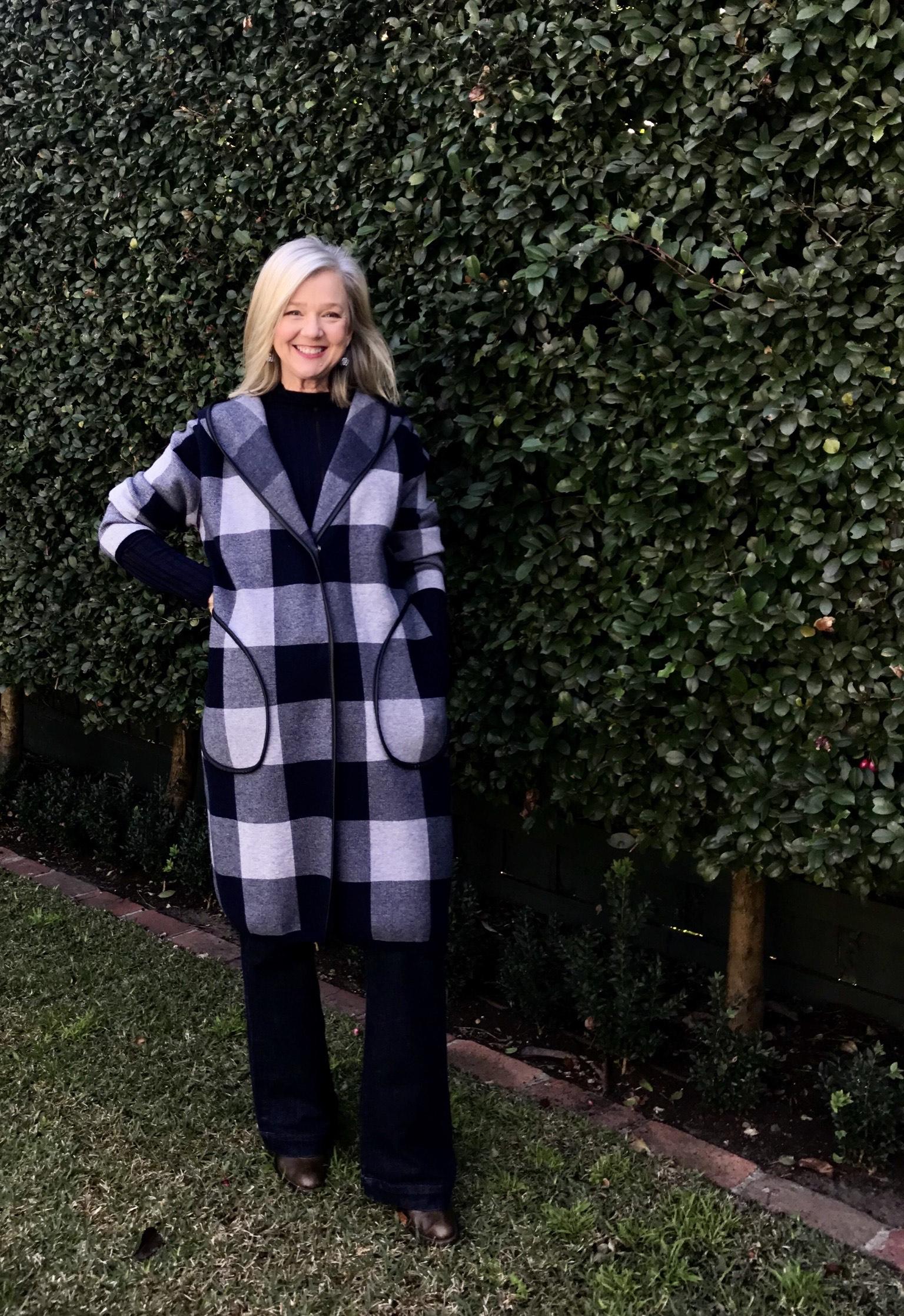 sarah london in plaid coat
