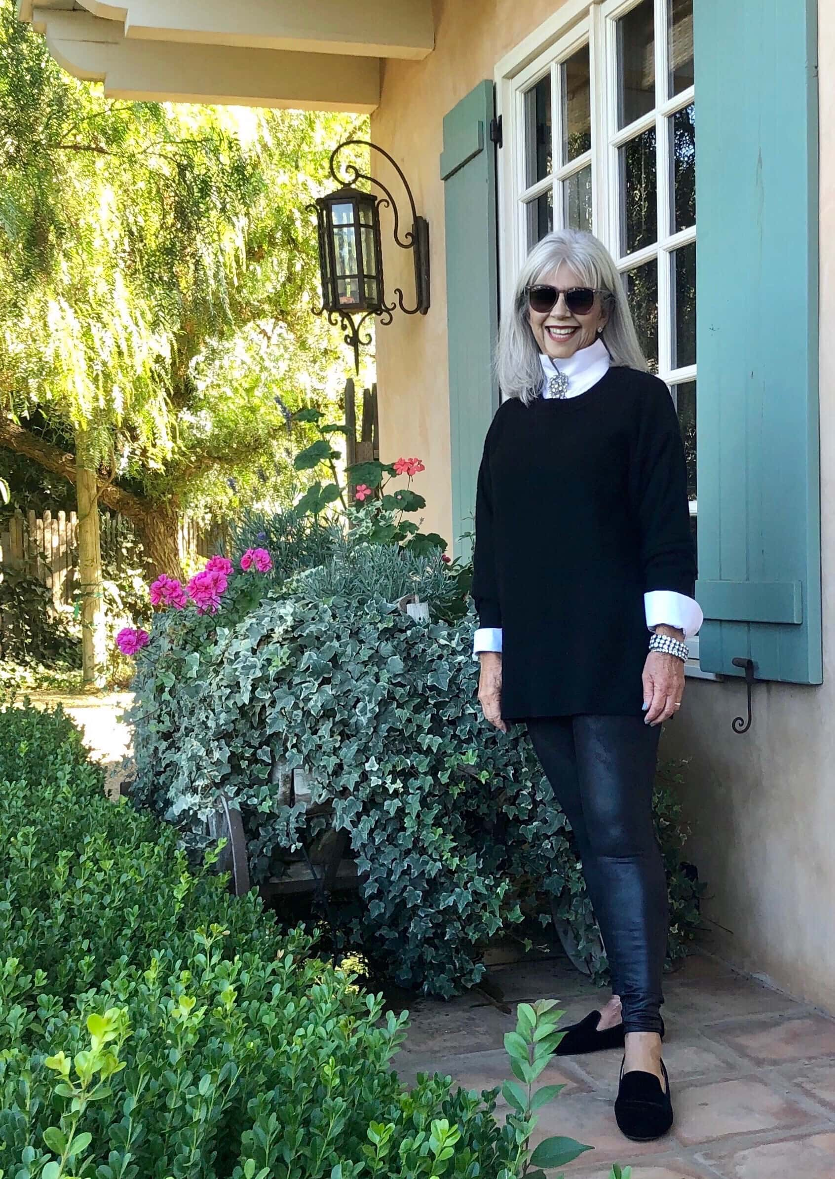 cindy hattersley in free people cashmere and chicos white shirt