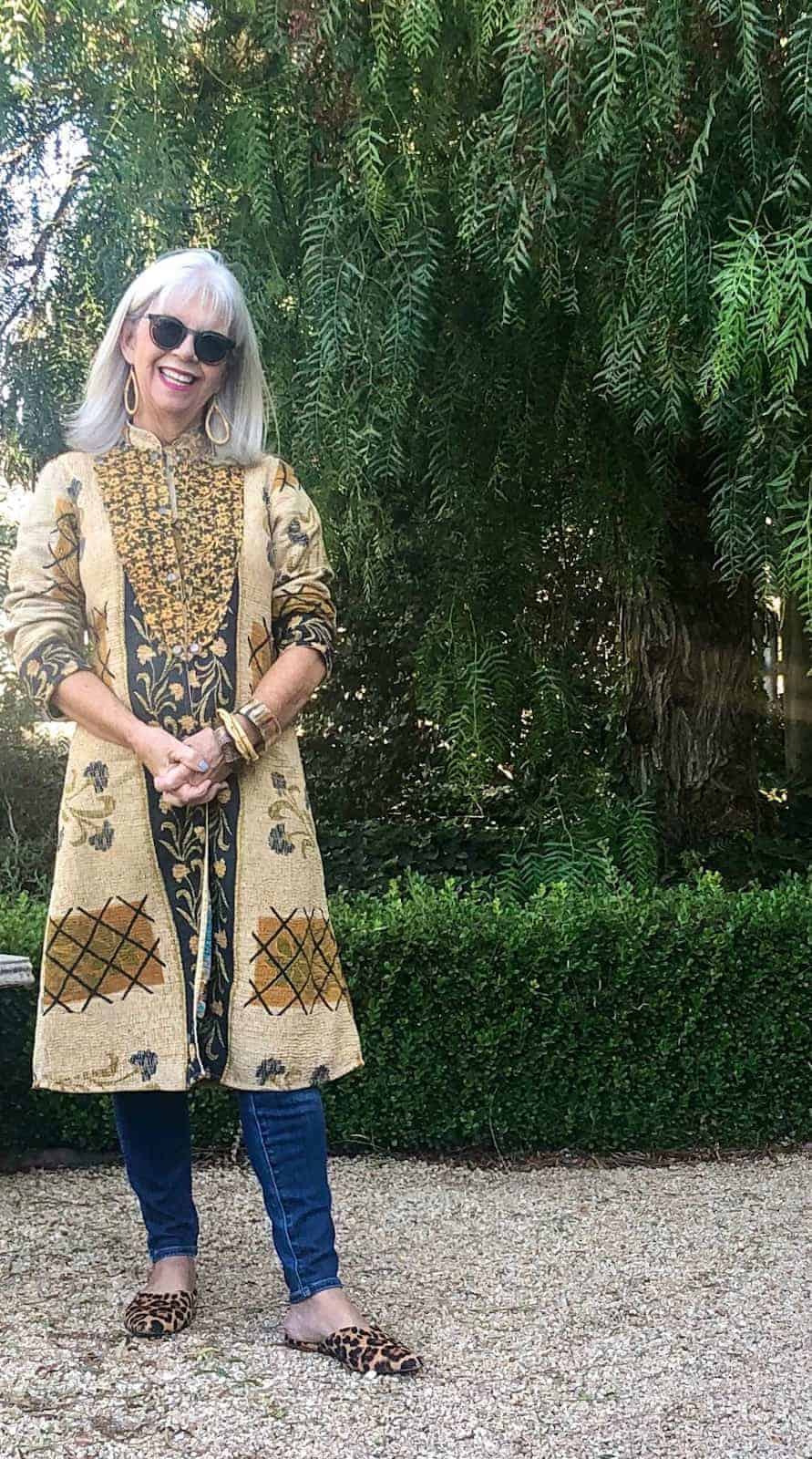 Over 50 Fashion blogger Cindy Hattersley in Kantha Jacket