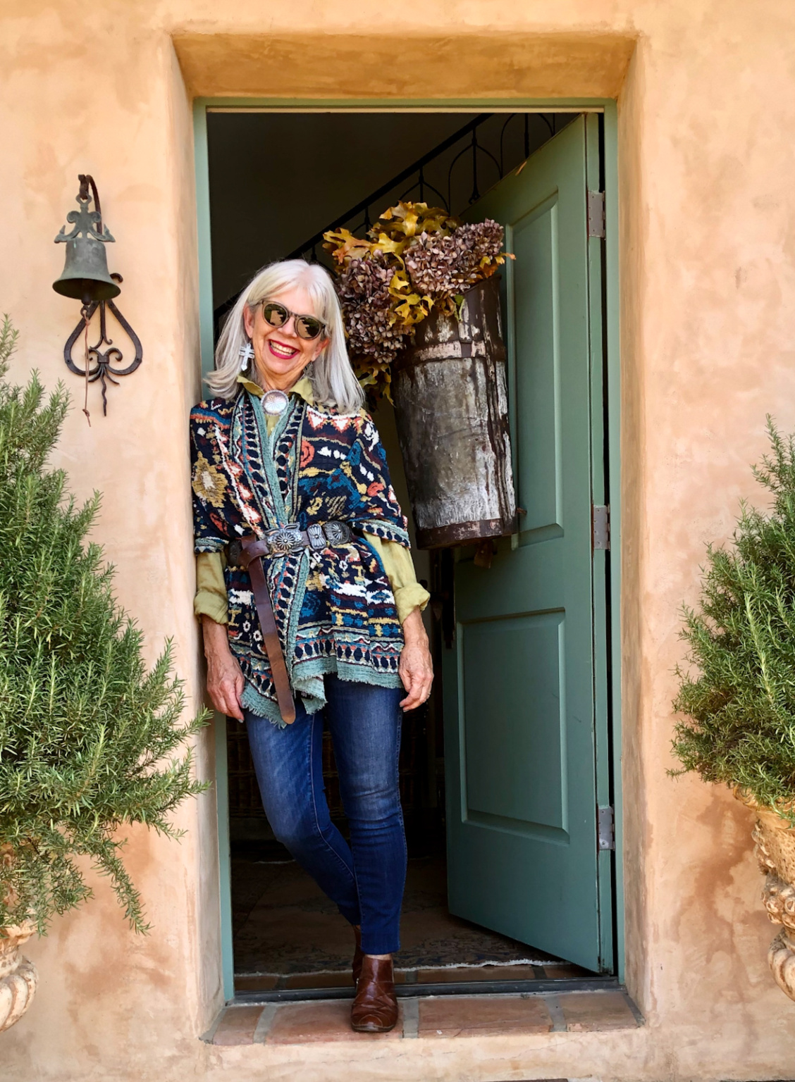 Over 50 fashion blogger cindy hattersley in Anthropologie Scarf