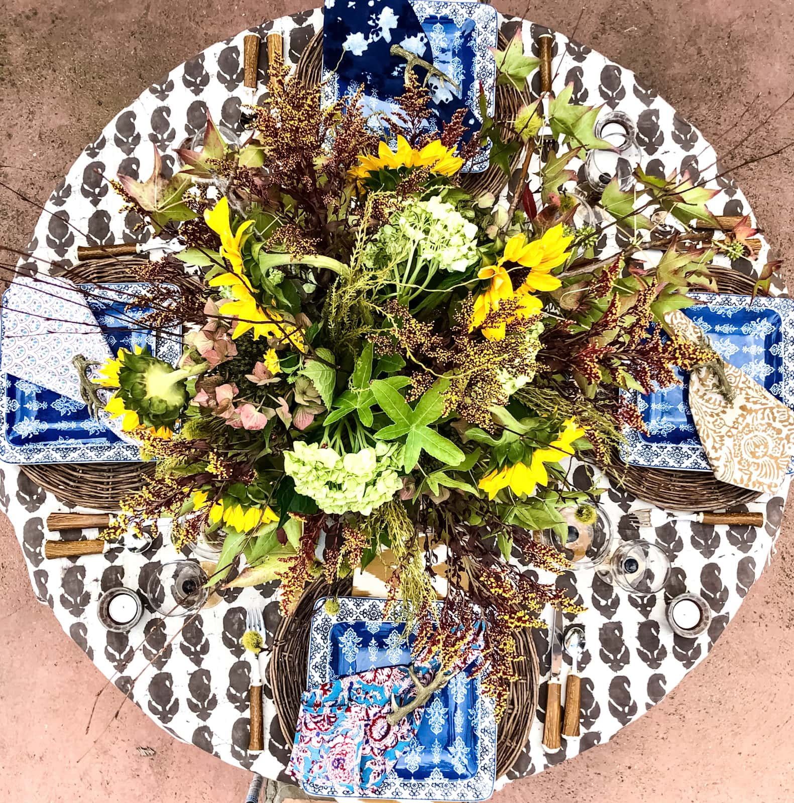 cindy hattersley fall table with block print tablecloth and napkins