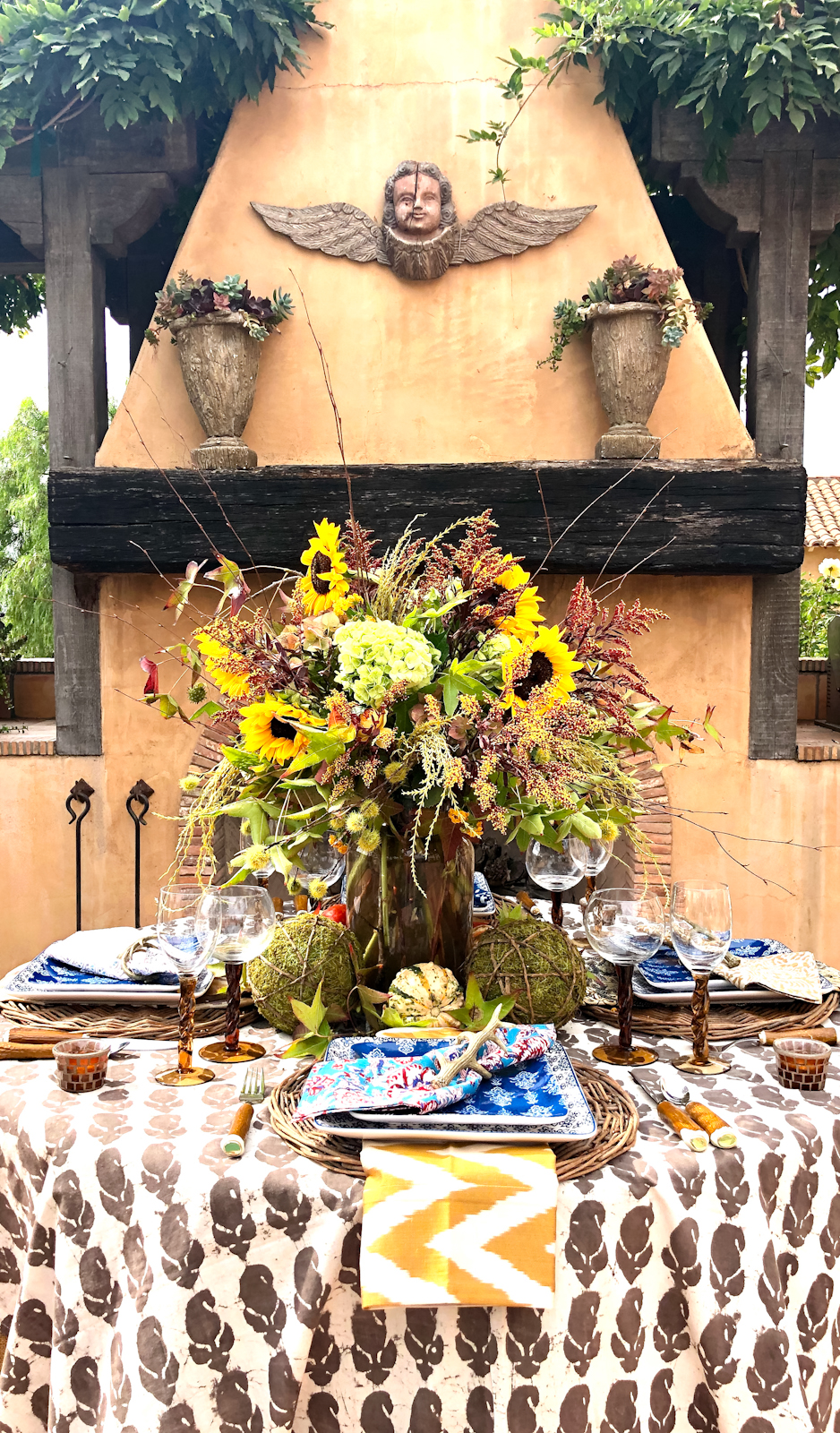 cindy hattersley fall tablescape with block print tablecloth