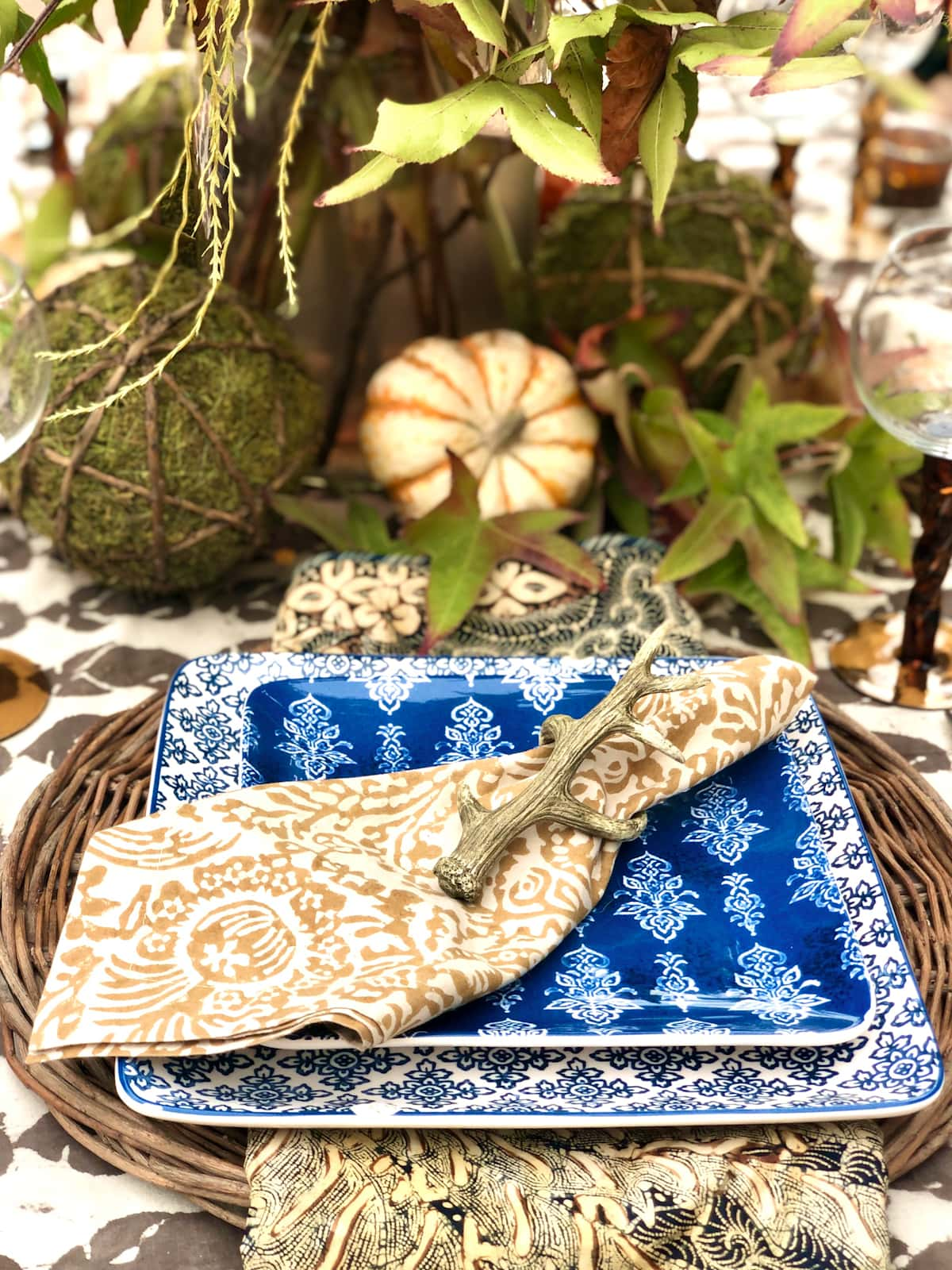 fall tablescape by cindy hattersley design block print napkin with antler napkin ring