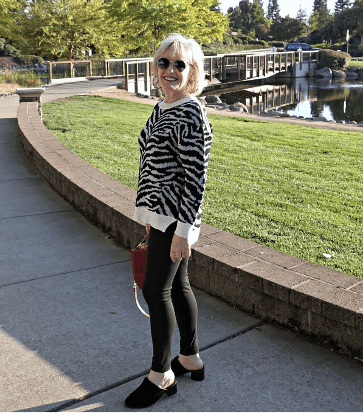 jennifer connolly for ageless style in zebra sweater