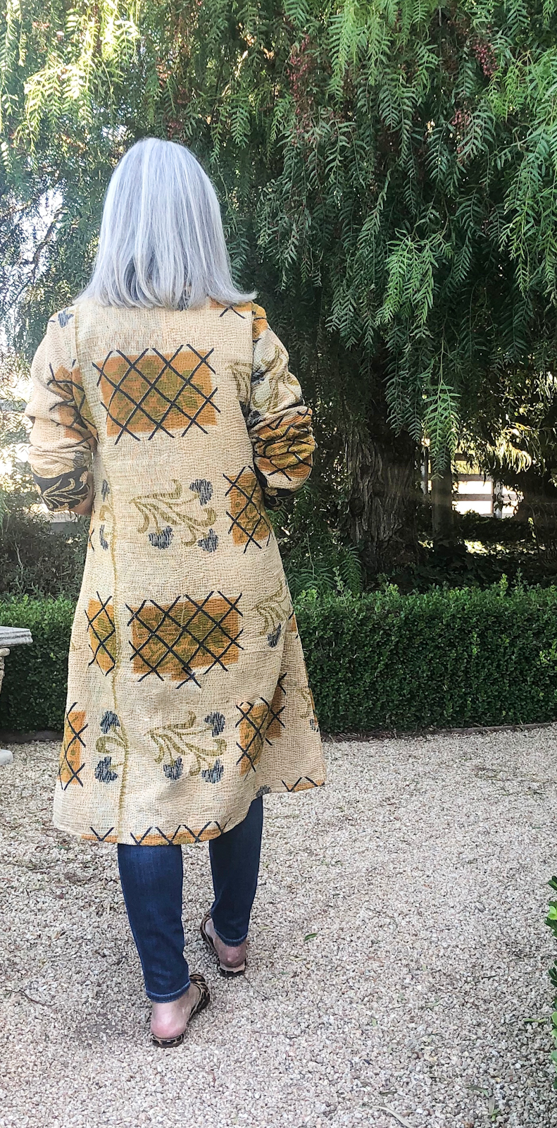 over 50 fashion blogger cindy hattersley in Kantha Jacket From Back