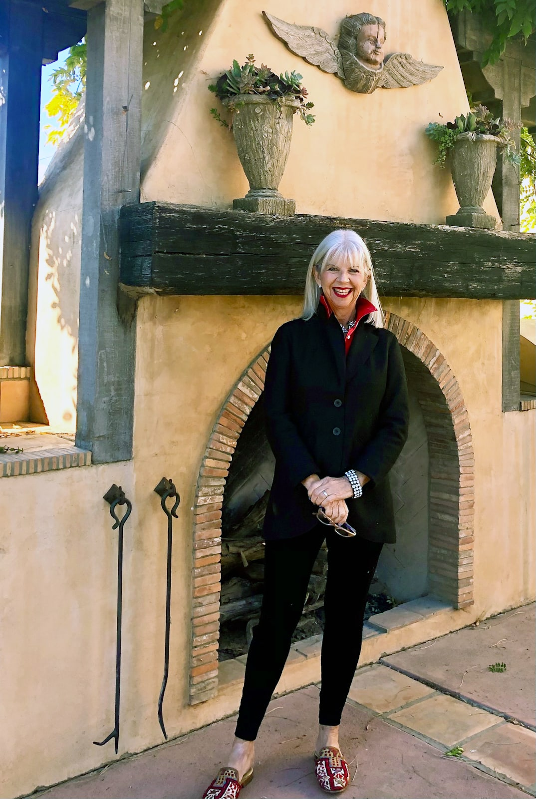 Cindy Hattersley in Peruvian Connection Blazer and Artemis Design Mules