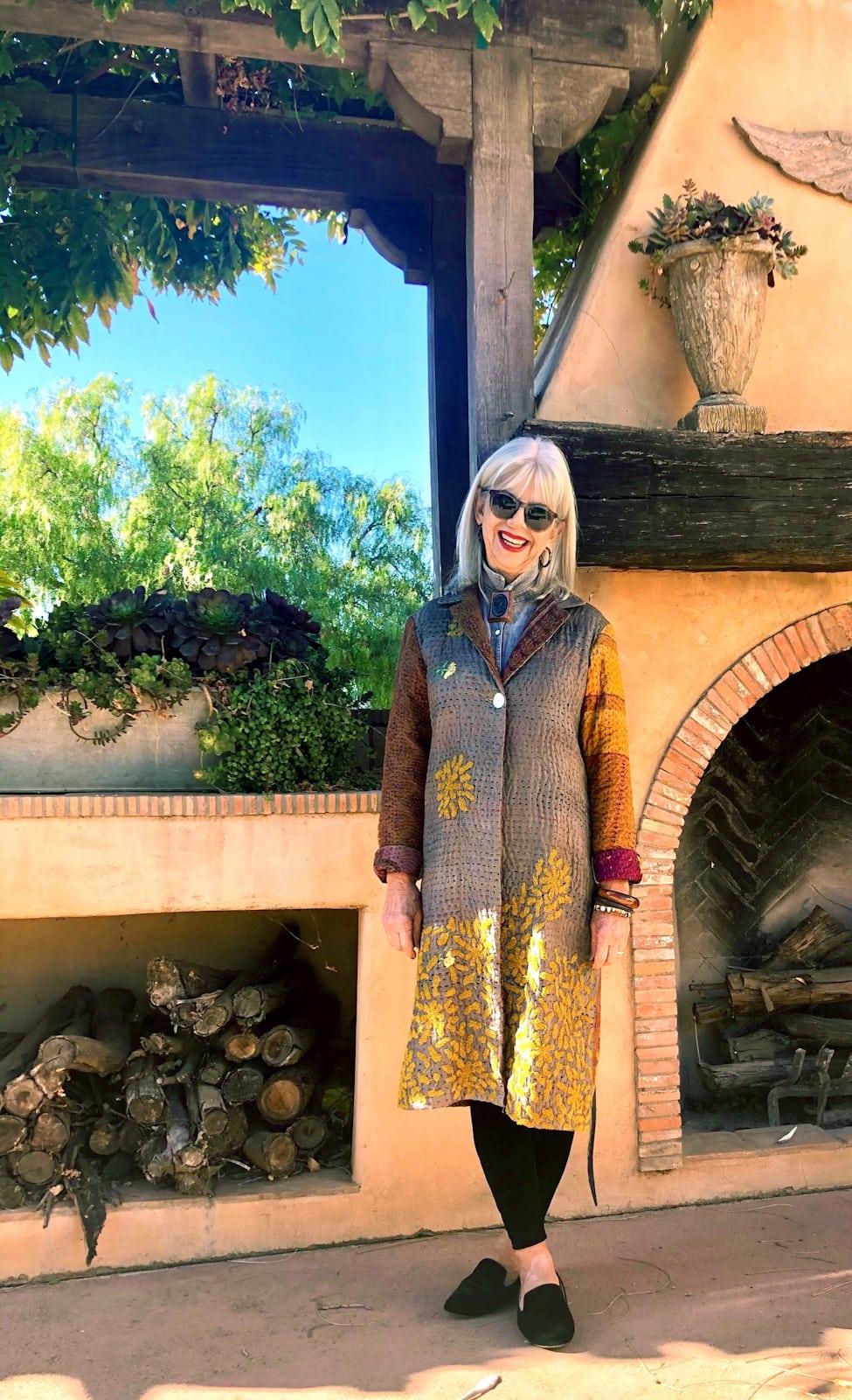 cindy hattersley in velvet leggings vintage chan luu coat and velvet birdies