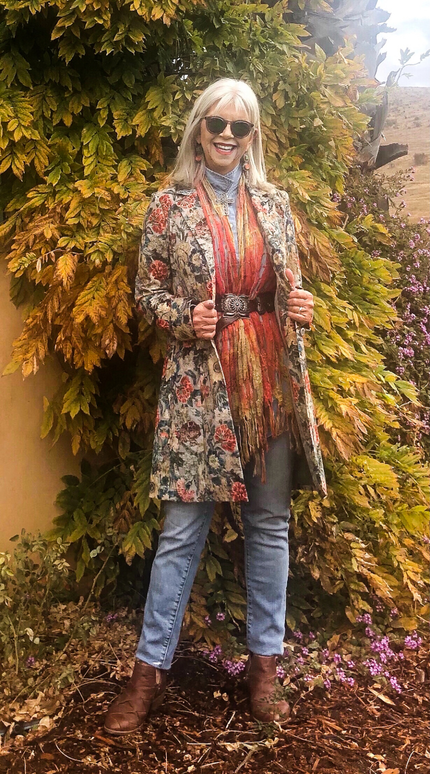 cindy hattersley in peruvian coat and scarf