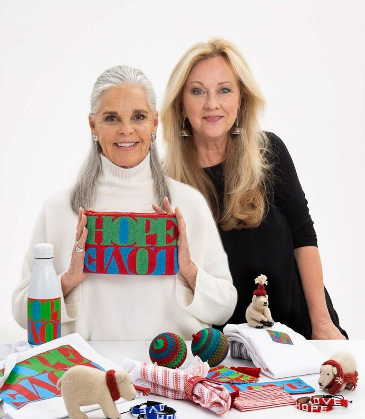 Susan Walker and Ali Macgraw with Ali's gift collection
