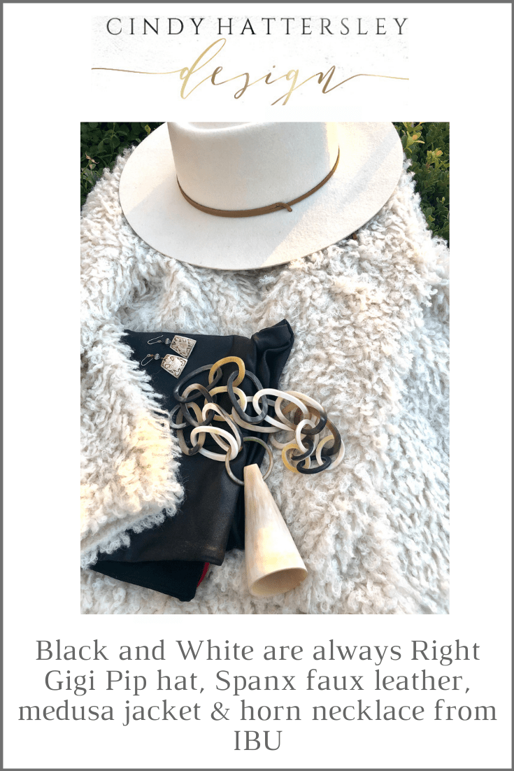 black and white with natural accessories from Cindy Hattersley Design