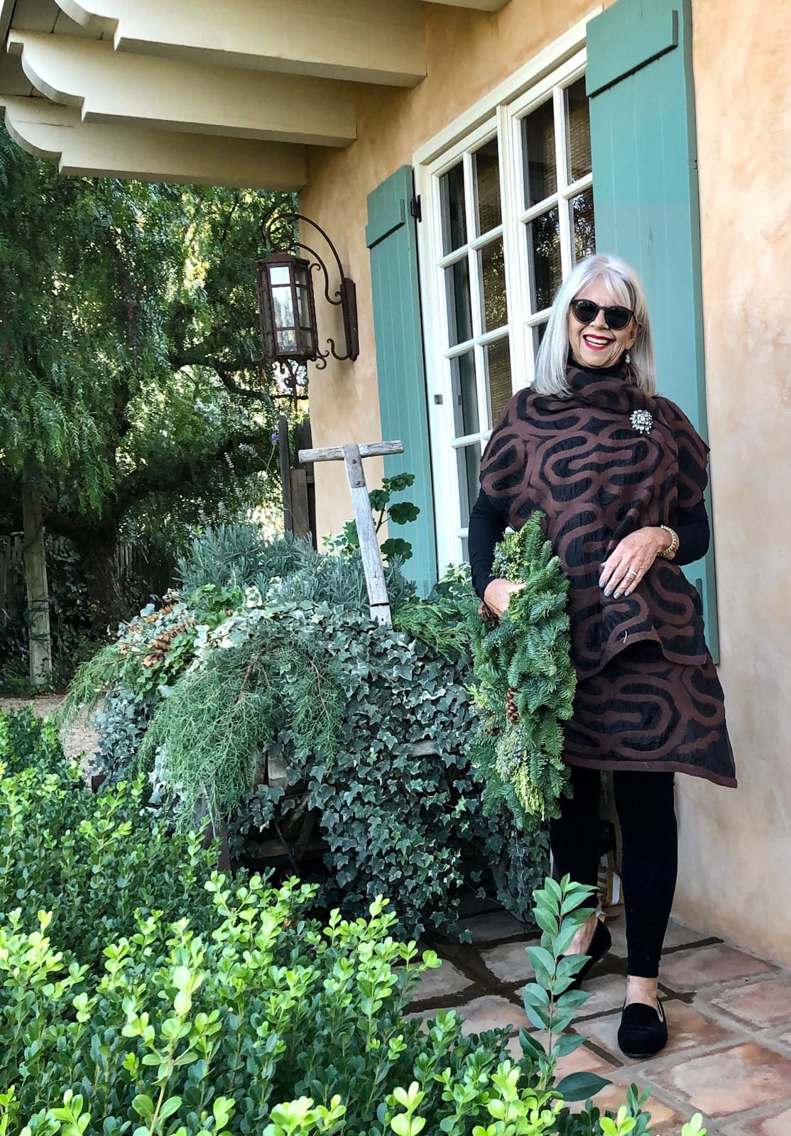 cindy hattersley in IBU shawl velvet leggings and velvet birdies