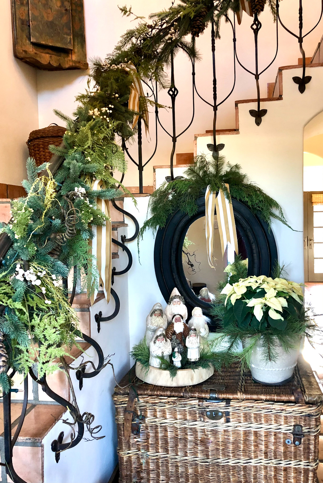 cindy hattersley's christmas entry with wicker traveling trunk