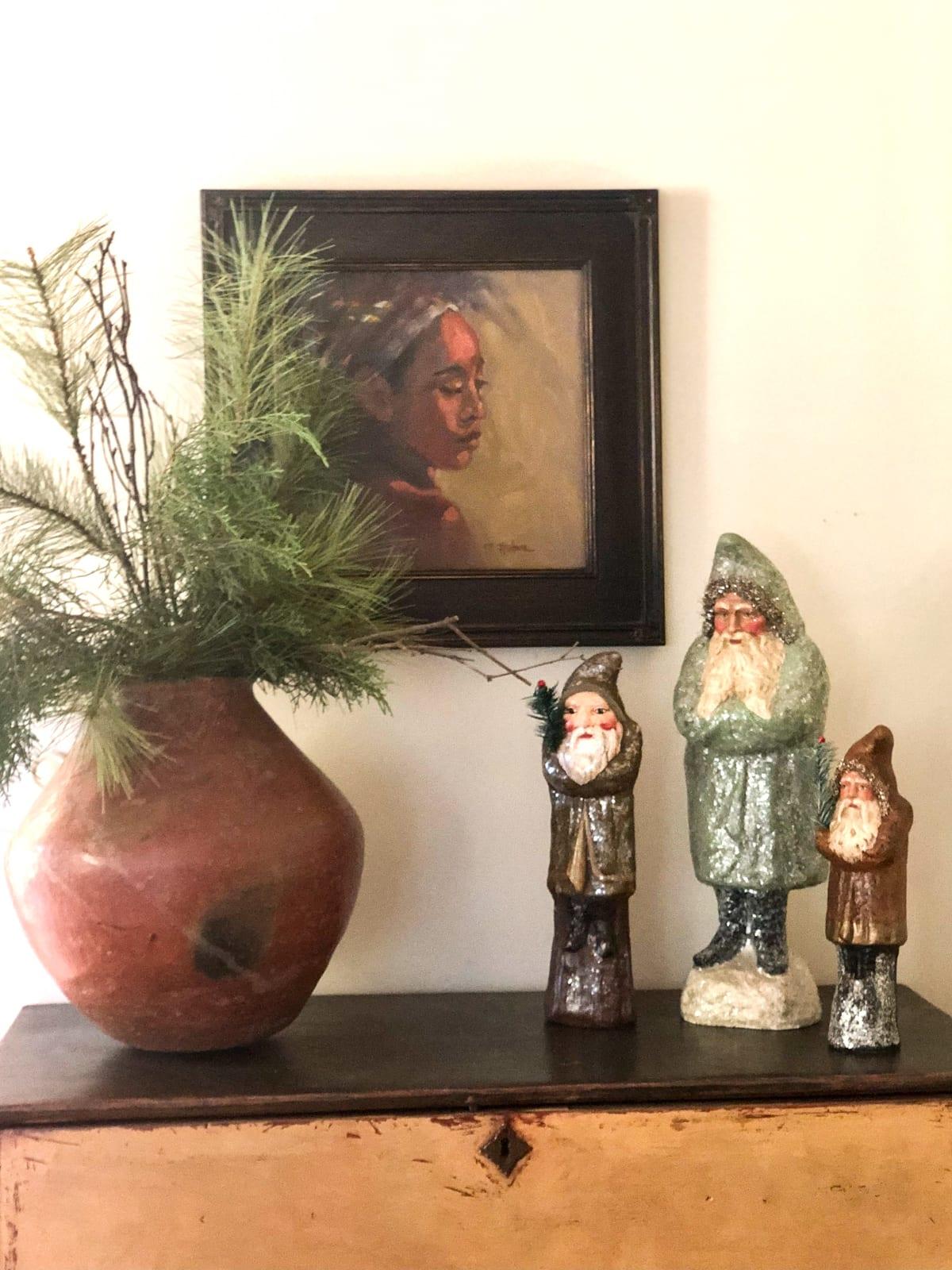 pat huber painting christmas vignette