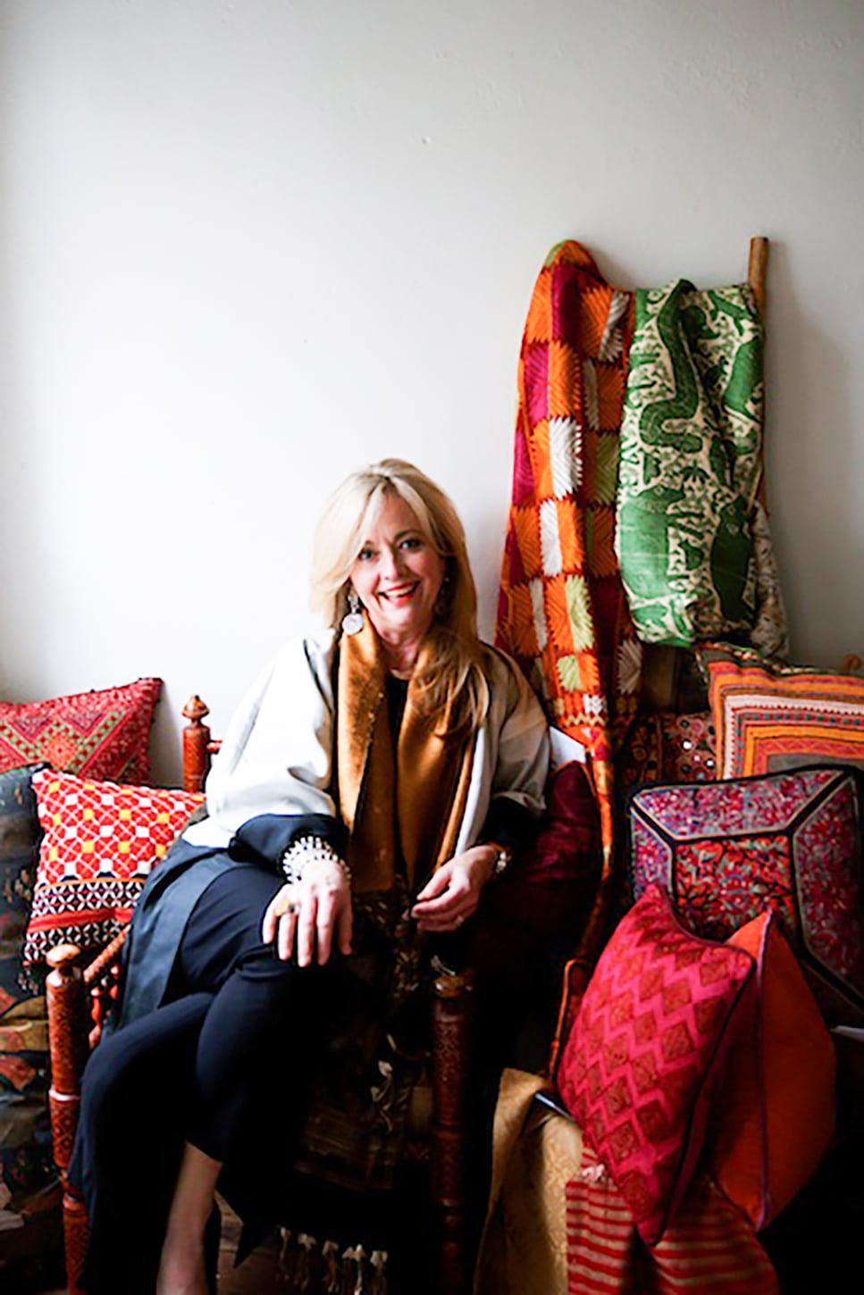 susan hull walker ibu founder surrounded by textiles-ageless style with cindy hattersley