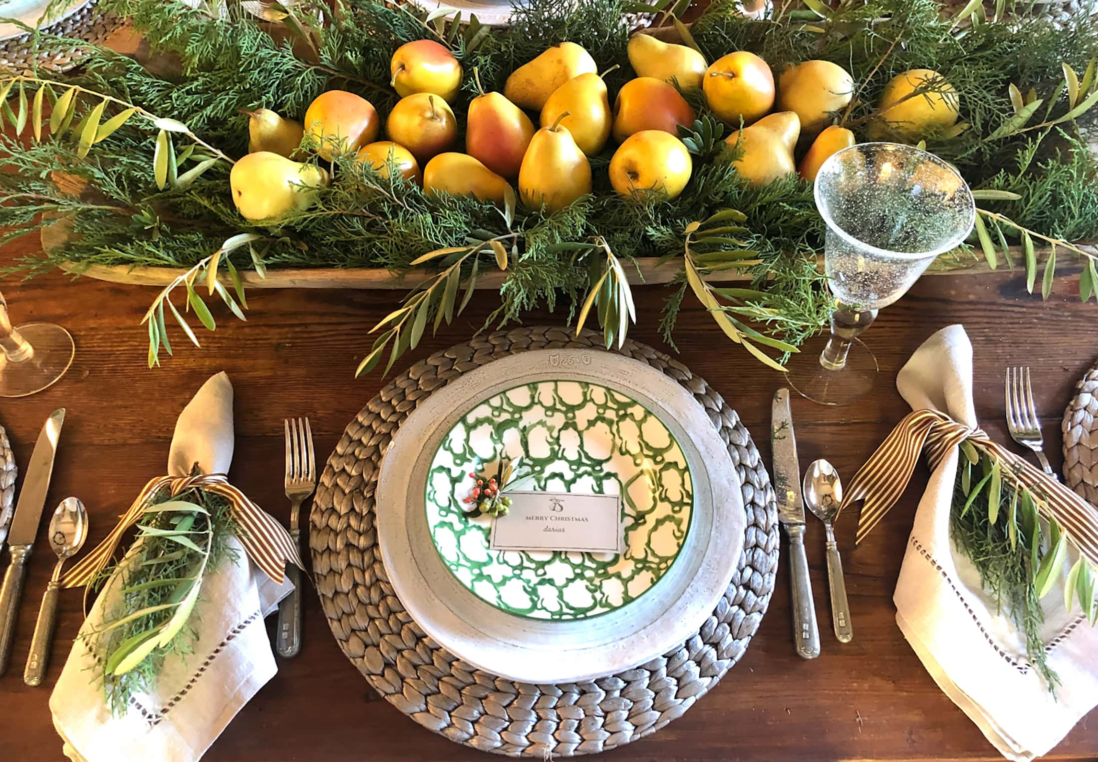 tory burch spongeware salad plates with nametags made on canva cindy hattersley