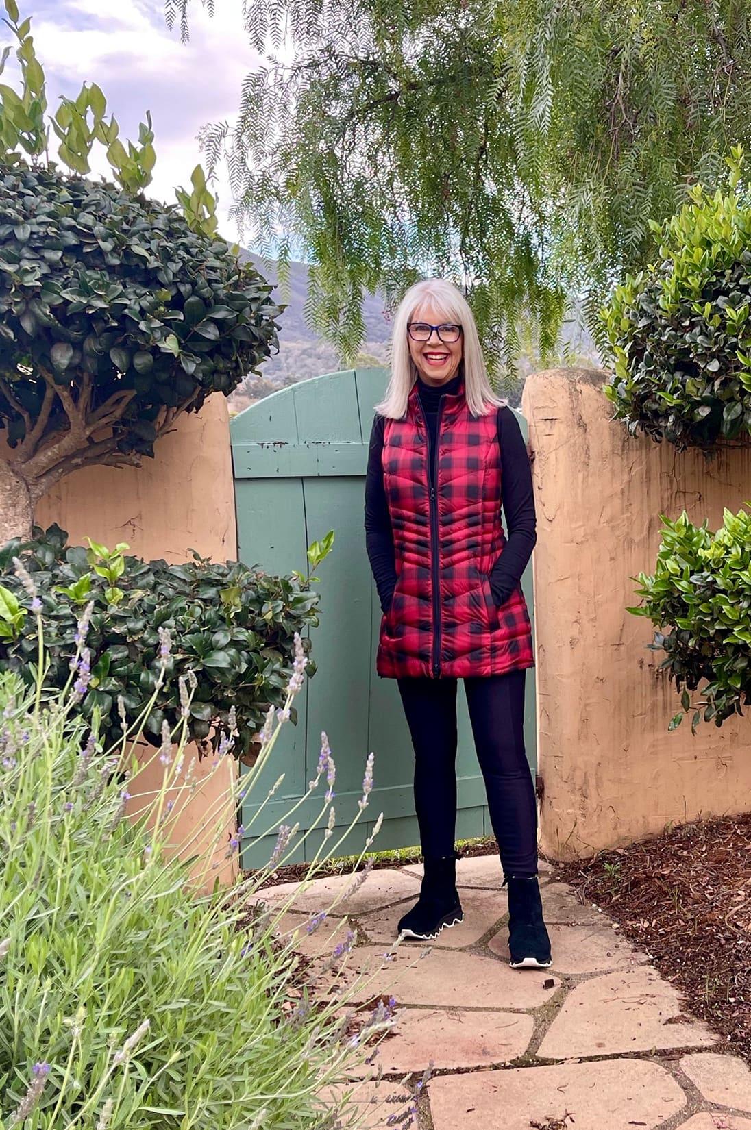 Cindy Hattersley in J Jill Vest and Sorrel boots