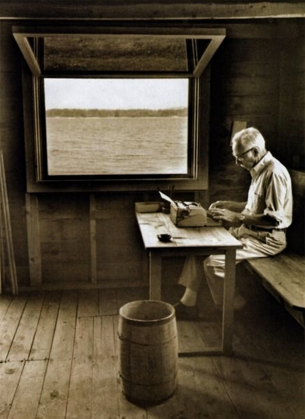E.B White in his boathouse via Collage of Life