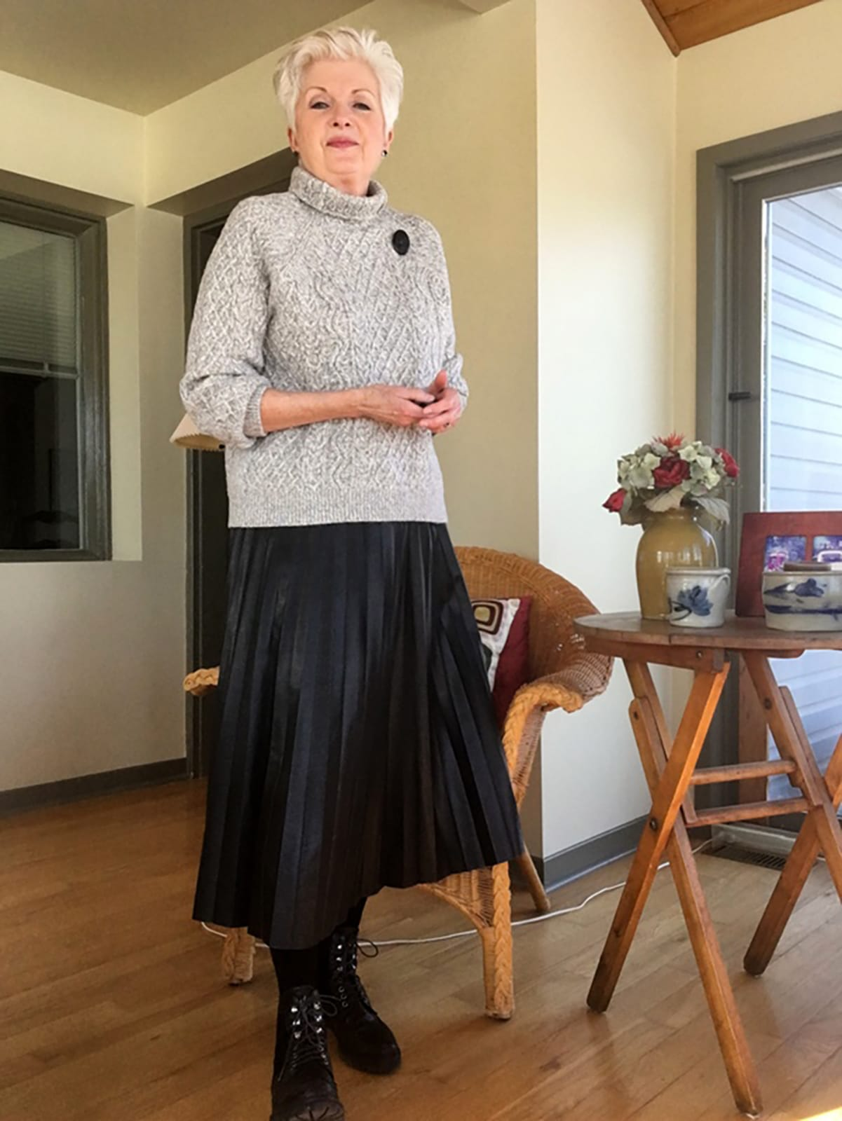Sue Burpee in H&M & Combat boots on Cindy Hattersley's blog